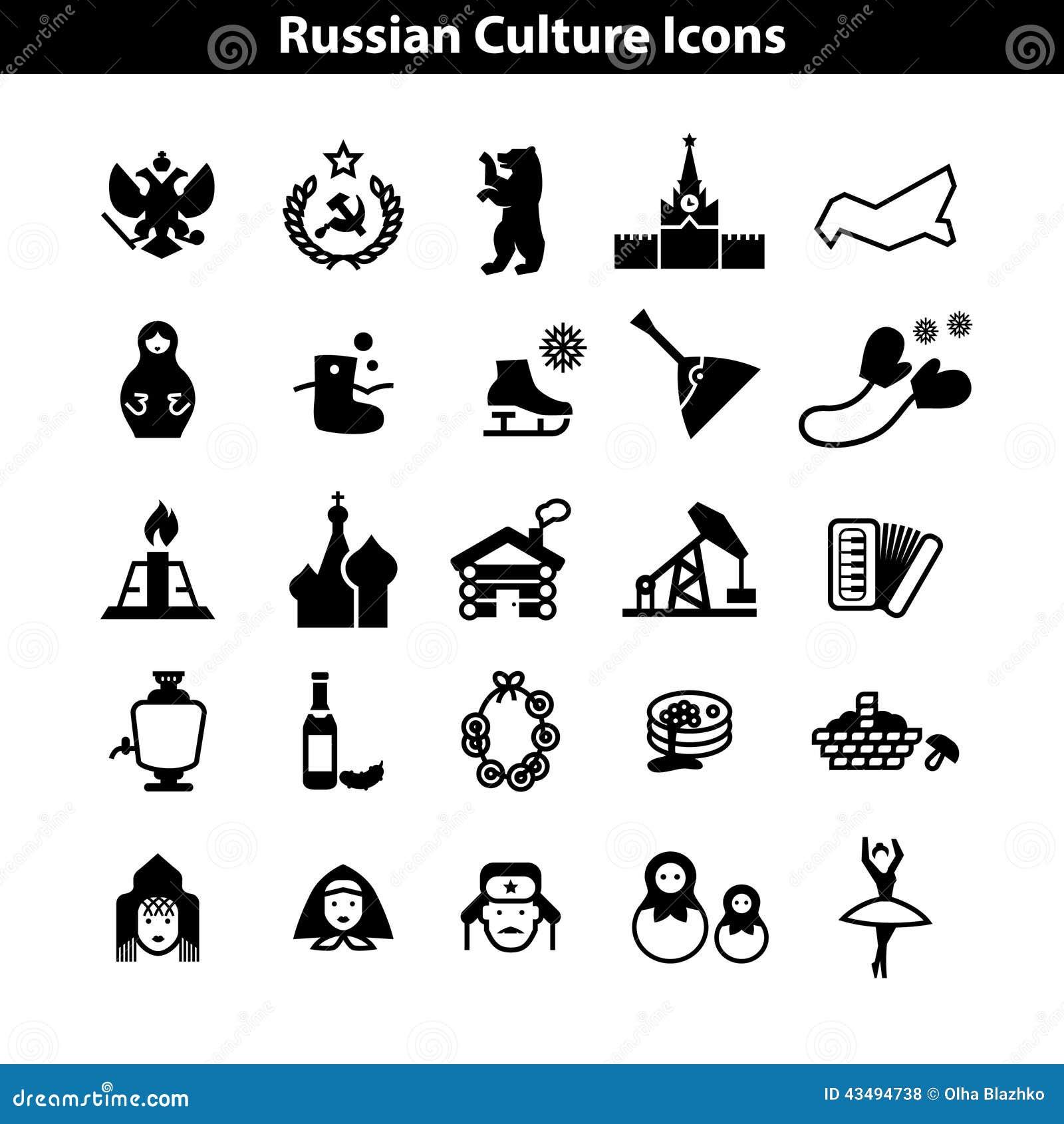 För symbolsvektor för rysk kultur uppsättning EPS