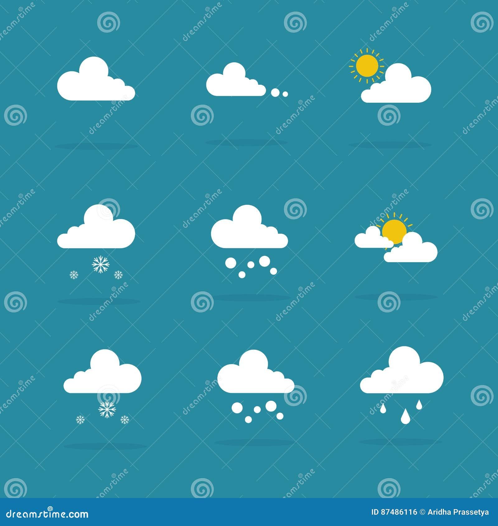 För symbolsvektor för väder fastställd illustration