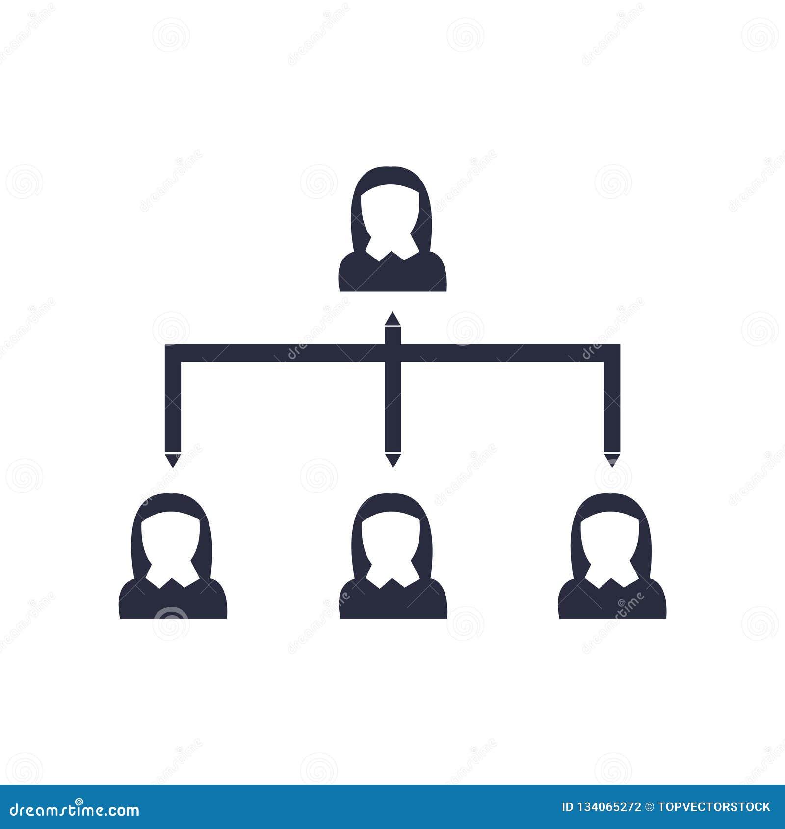 För symbolsvektor för hierarkisk struktur som tecken och symbol isoleras på vit bakgrund, logobegrepp för hierarkisk struktur
