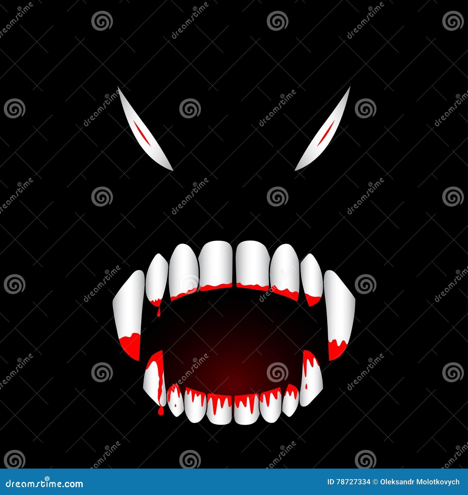 För tandvektor för monster blodig illustration