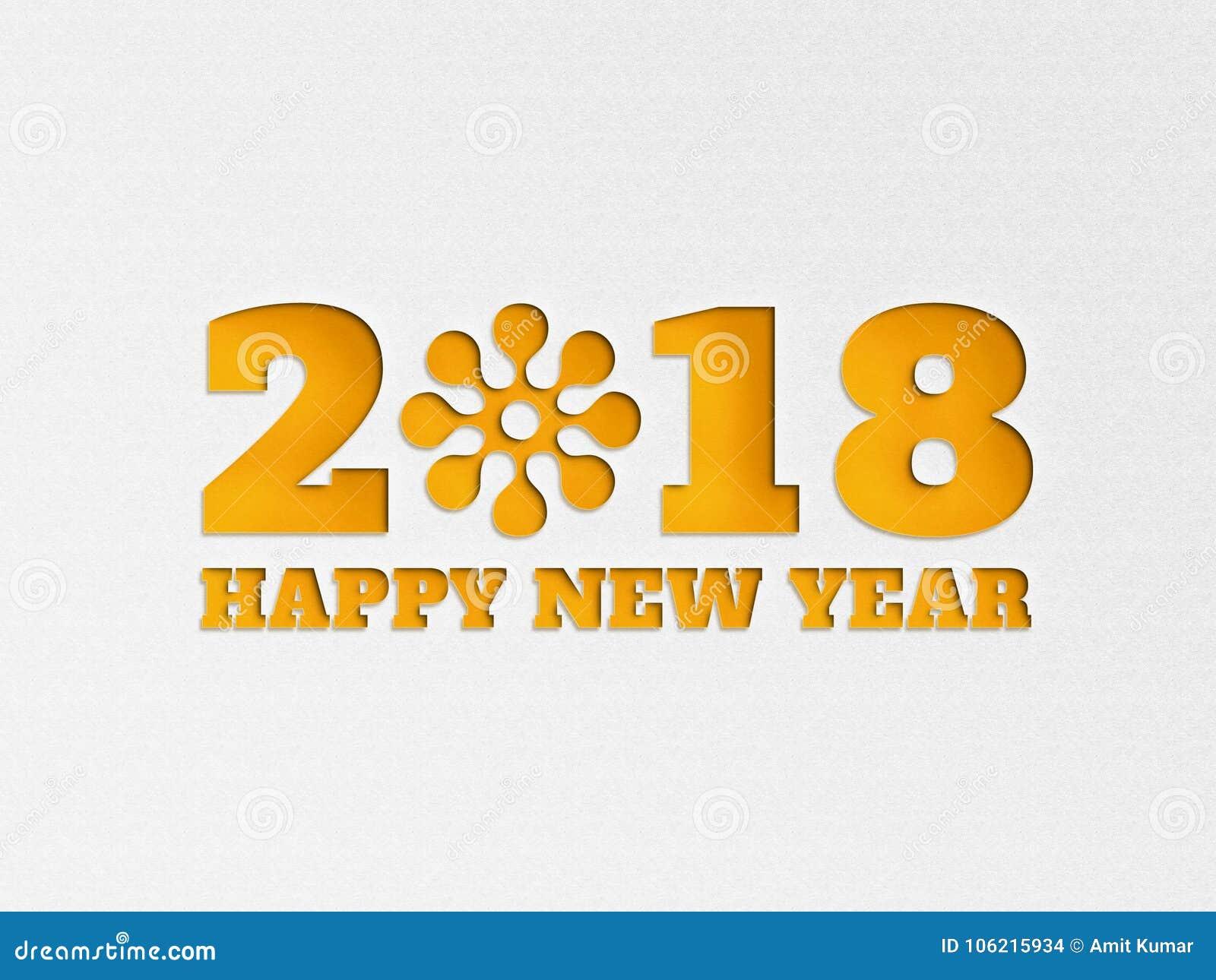 För tapetbaner för lyckligt nytt år 2018 blomma för bakgrund med pappers- effekt för snitt ut i gul färg