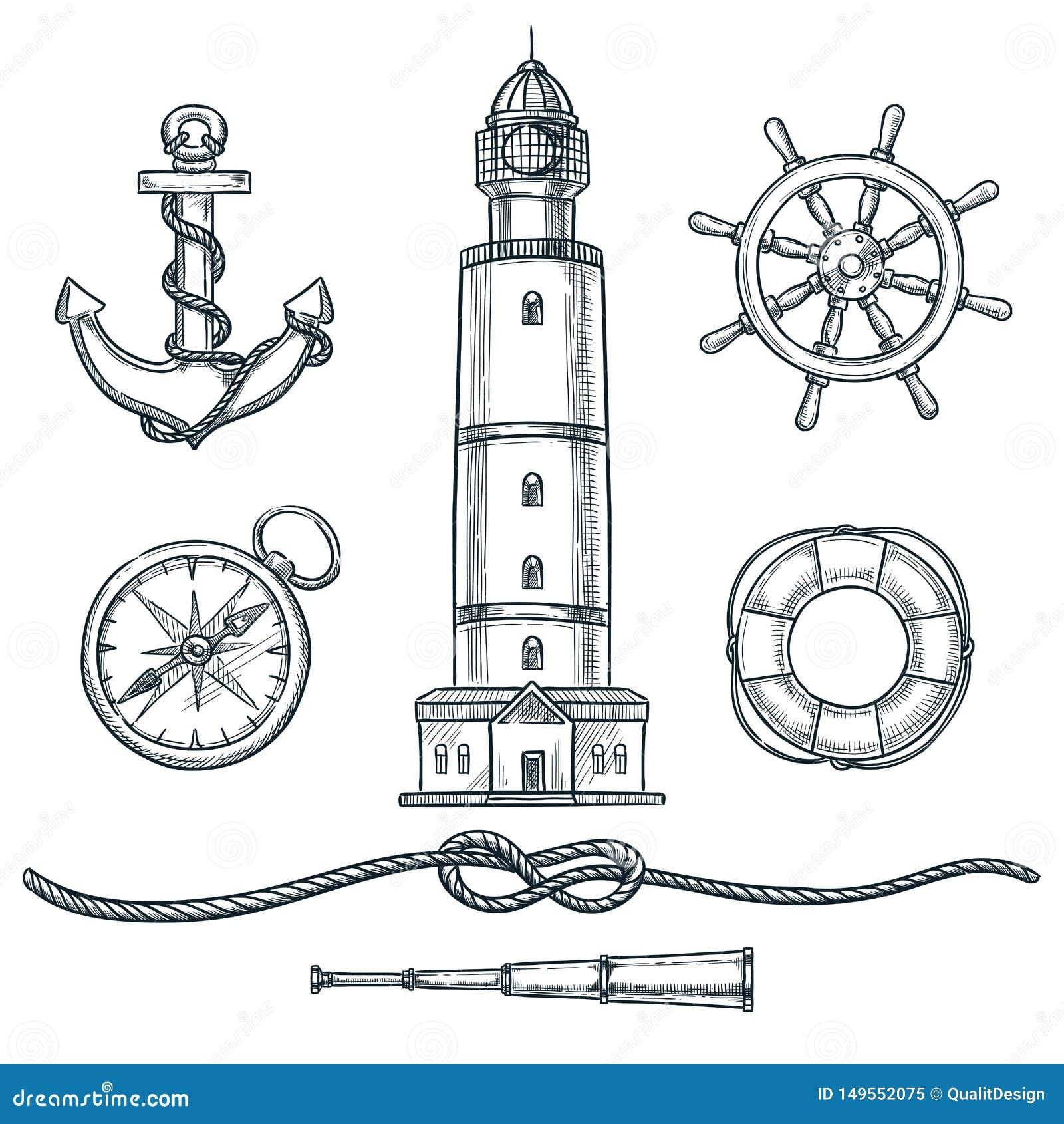 För tappningsymboler för sommar nautisk uppsättning Den drog vektorhanden skissar illustrationen Havet och flottan isolerade desi