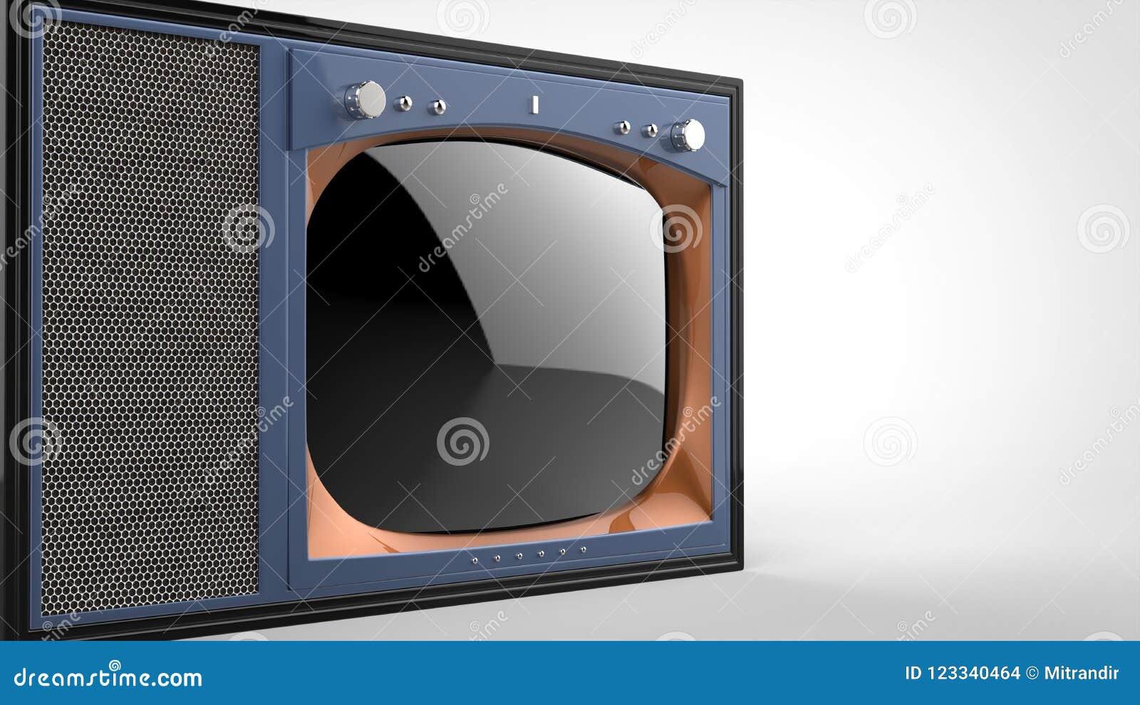 För tappningTV för den gamla skolan den purpurfärgade uppsättningen - klipp skottet