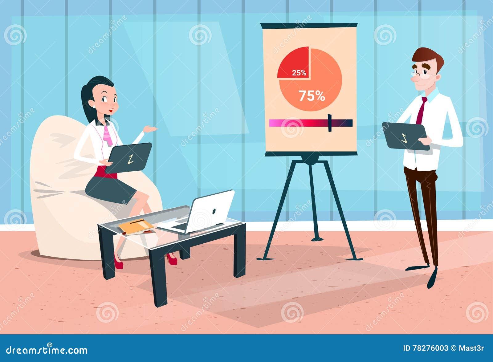 För Team With Flip Chart Seminar för affärsfolk graf för presentation för idékläckning för konferens utbildning finansiell