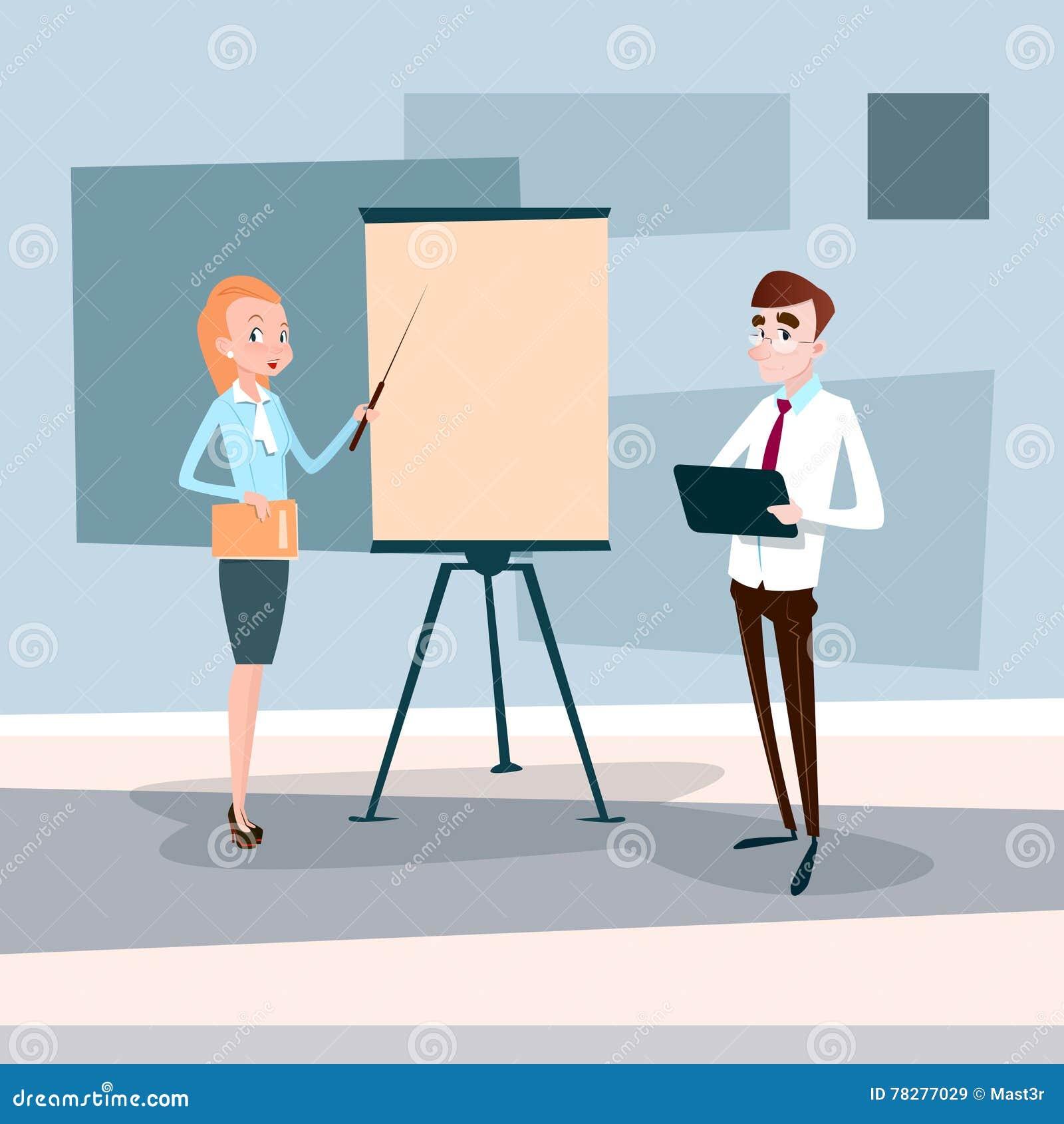För Team With Flip Chart Seminar för affärsfolk presentation för idékläckning för konferens utbildning