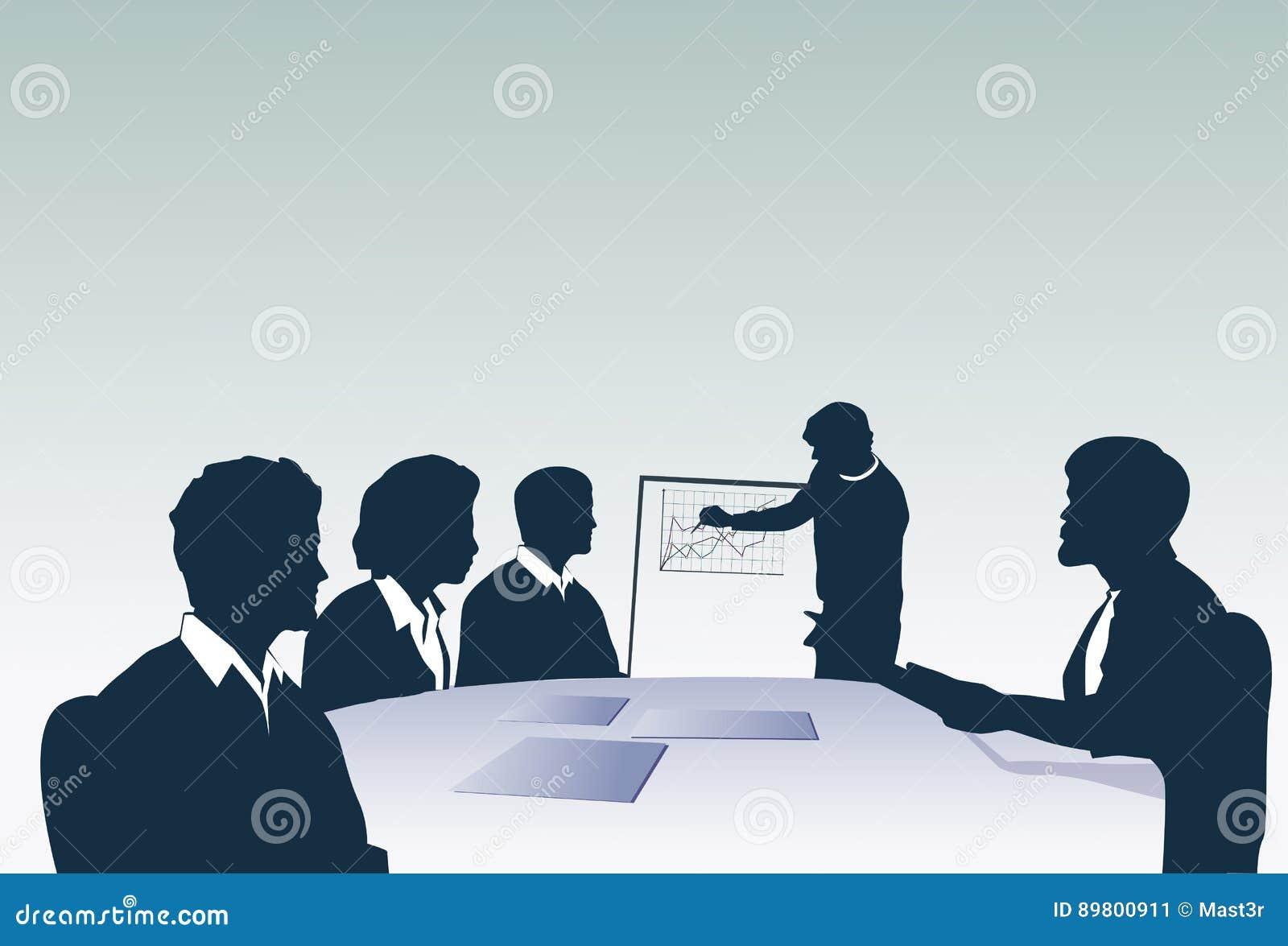 För Team With Flip Chart Seminar för konturaffärsfolk presentation för idékläckning för konferens utbildning