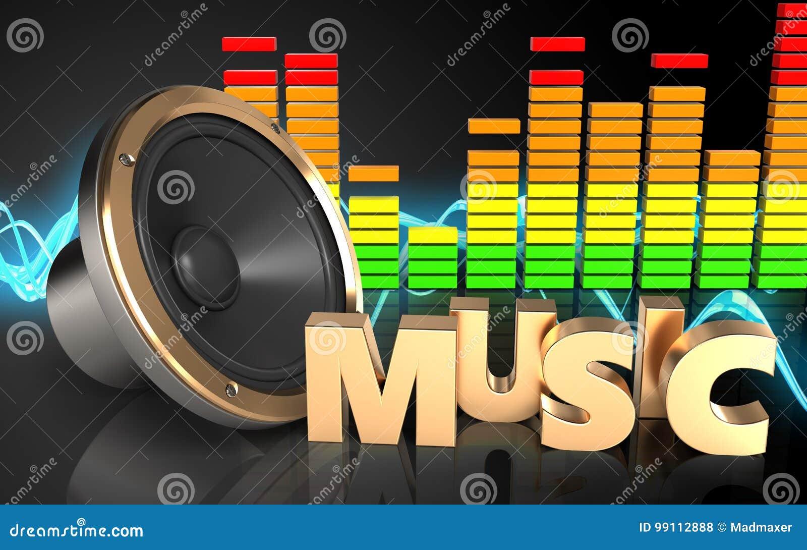 För Teckenljudsignal För Musik 3d Spektrum Stock