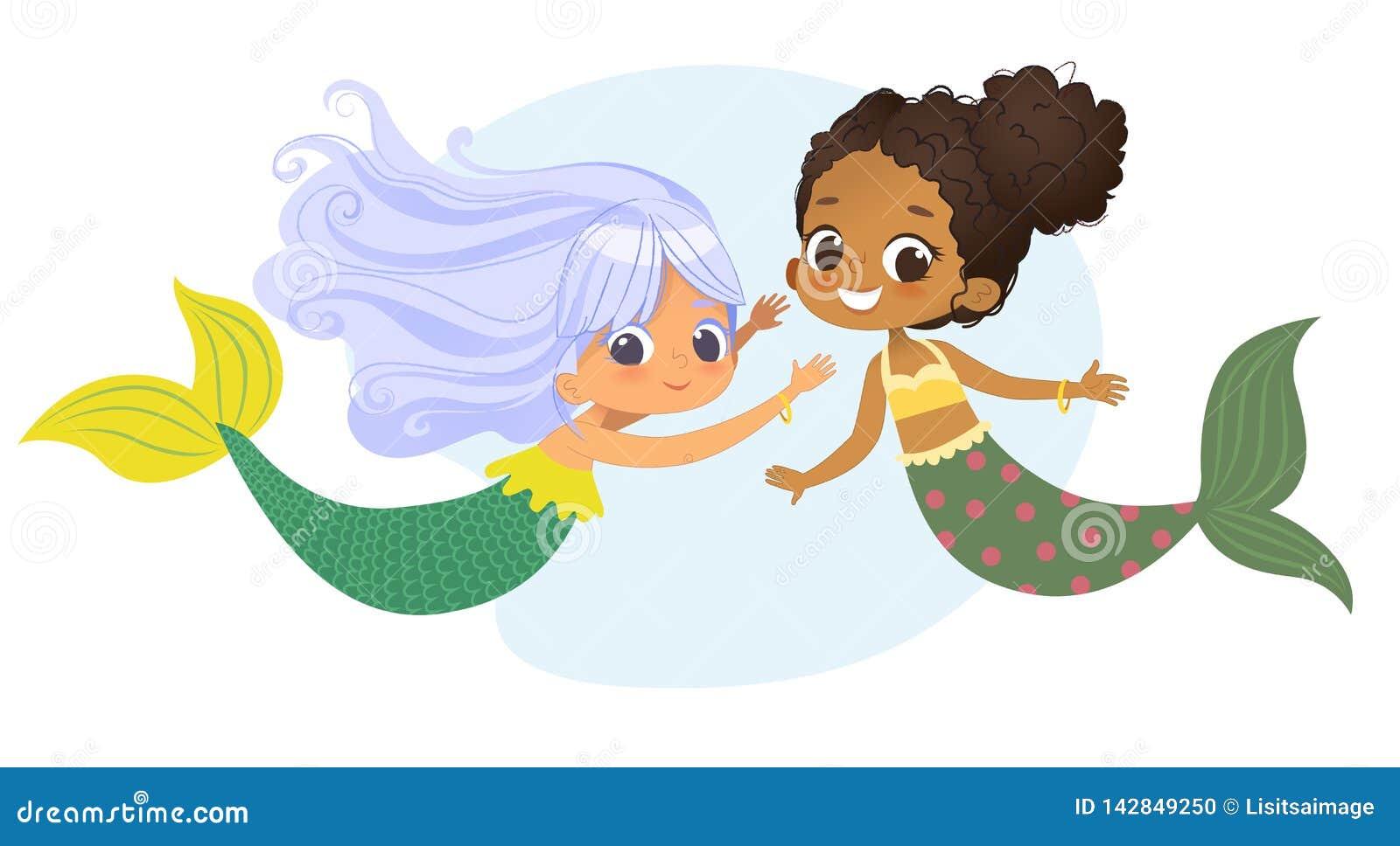 För teckenvän för sjöjungfru afrikansk Caucasian nymf Kvinnlig gullig mytologiprinsessa för ung undervattens- afrikansk amerikan