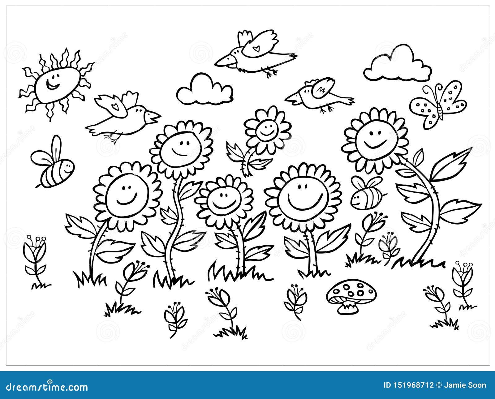 För för för tecknad filmsolrosor, fåglar och bin för vektor svartvit illustration Passande för kort eller att färga för hälsning