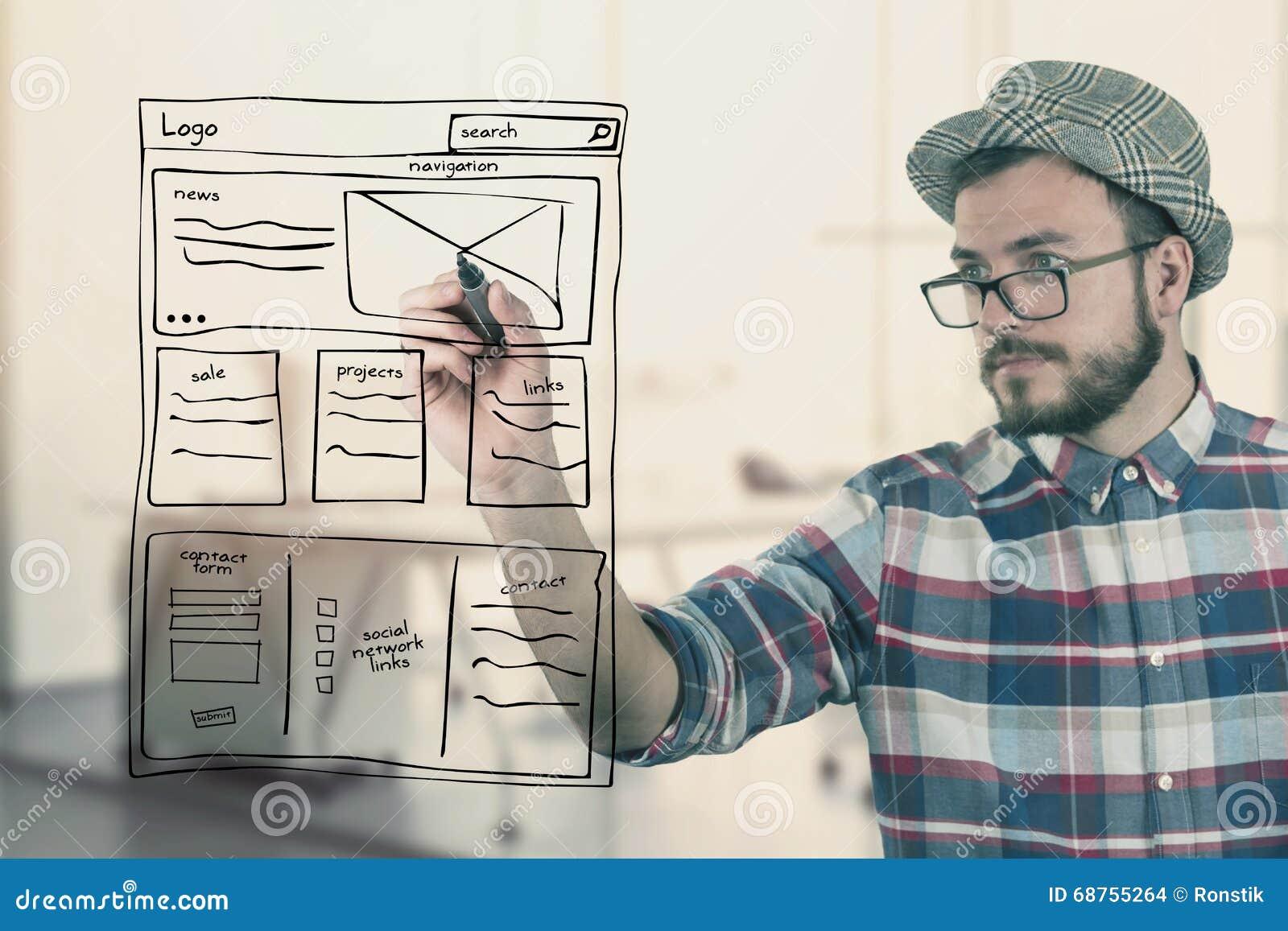 För teckningswebsite för rengöringsduk märkes- wireframe för utveckling på kontoret