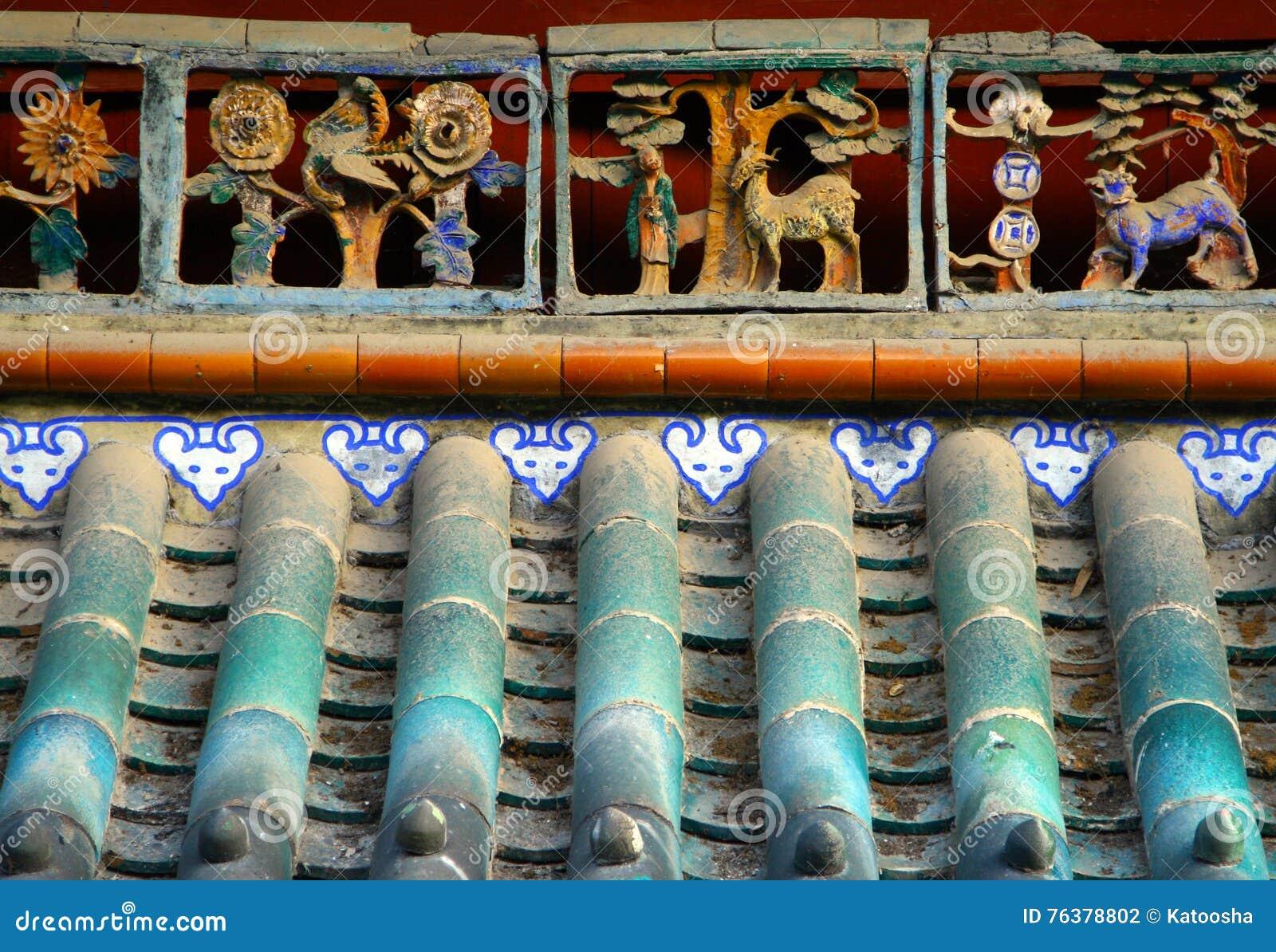 För tegelplattatak för traditionell kines bakgrund
