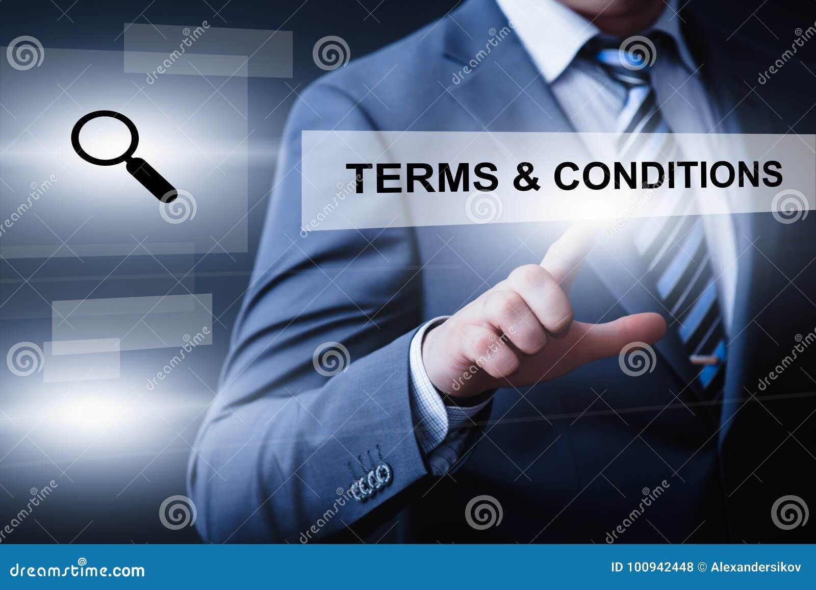 För teknologiinternet för uttryck och för tjänste- affär för villkoröverenskommelse begrepp