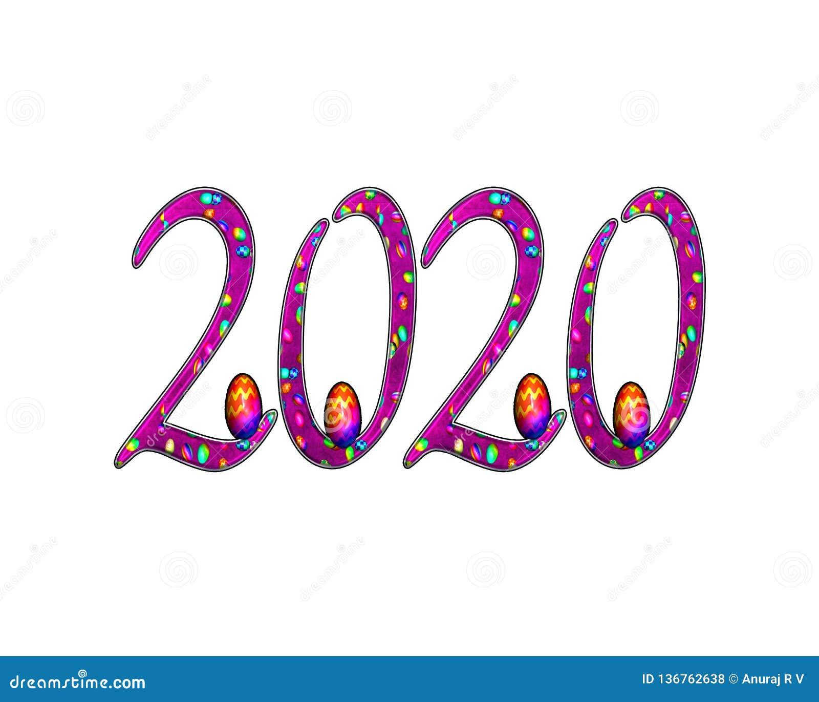 För texteffekt för lyckligt nytt år 2020 PNG