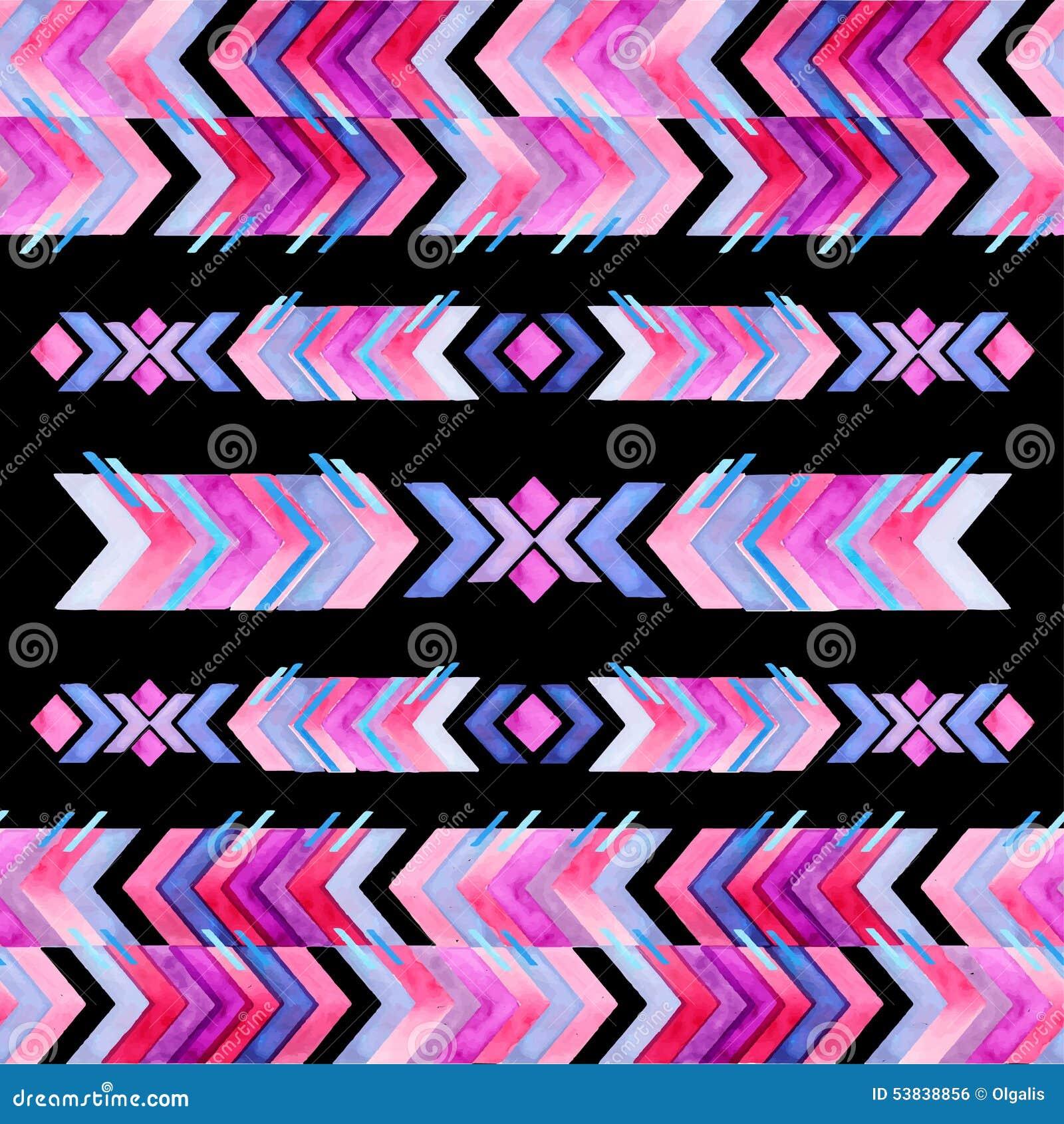För textilinspiration för Navajo aztec modell för vattenfärg Inföding amer