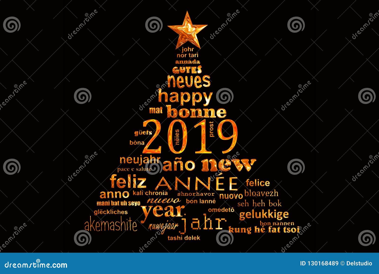 För textord för nytt år 2019 flerspråkigt kort för hälsning för moln i form av ett julträd
