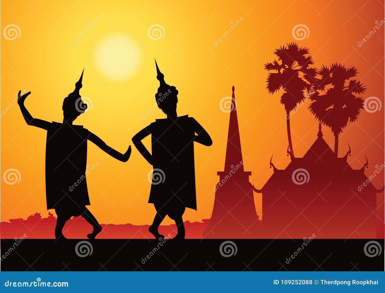 For för thailändsk musikdansare viktig festival och ceremoni, kontur
