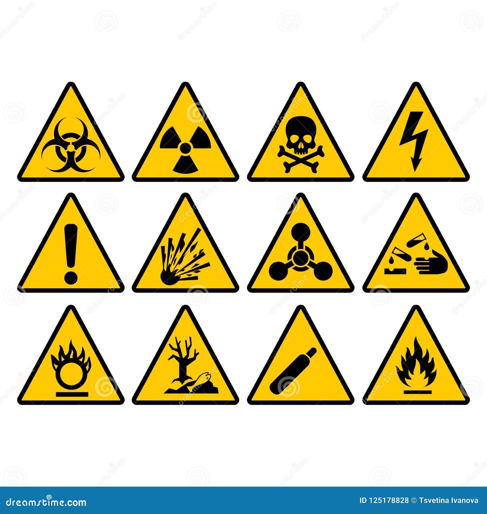 För triangeltecken för varning gul uppsättning Varna och faravektortecken