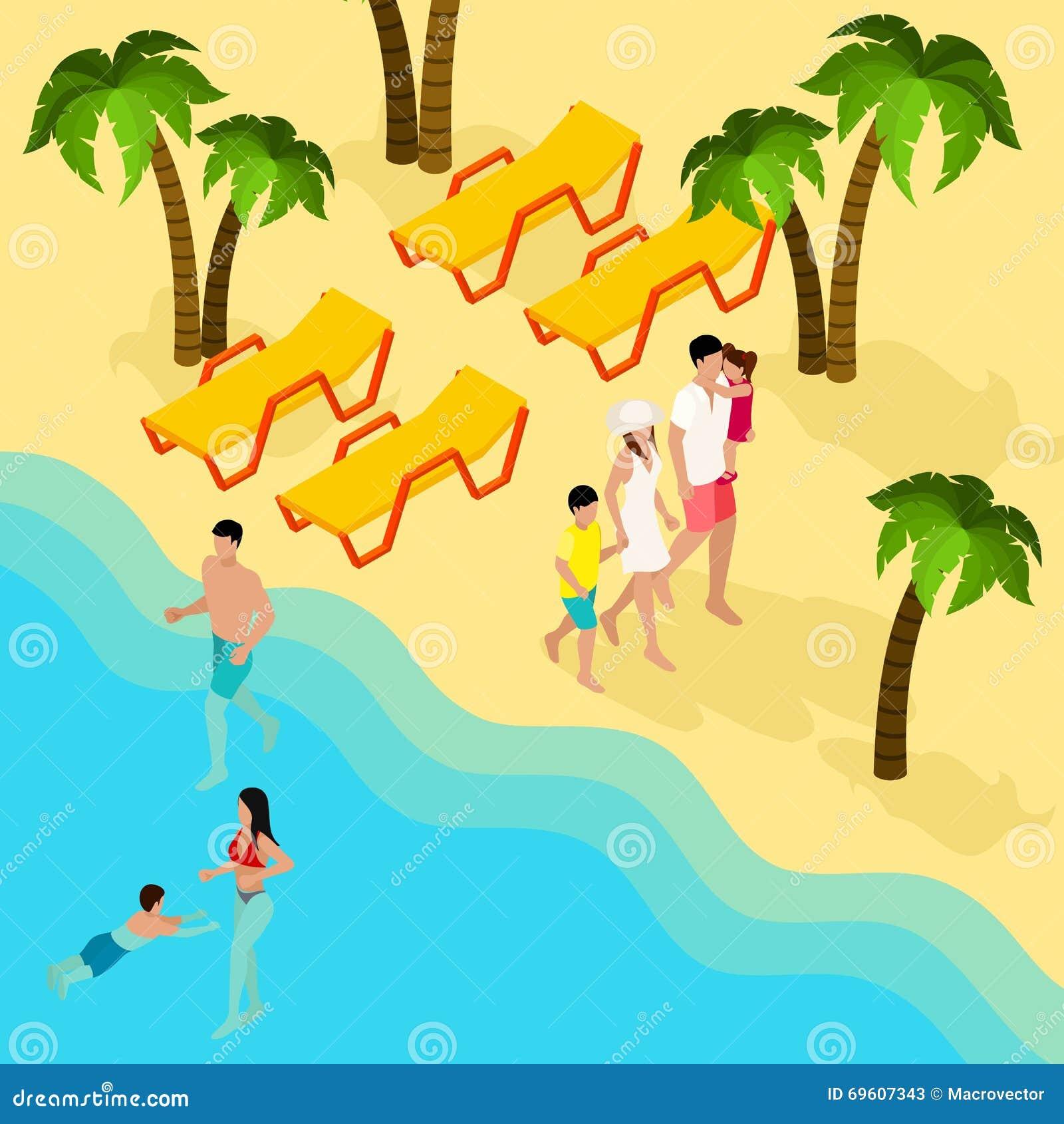 För tropisk isometriskt baner strandsemester för familj