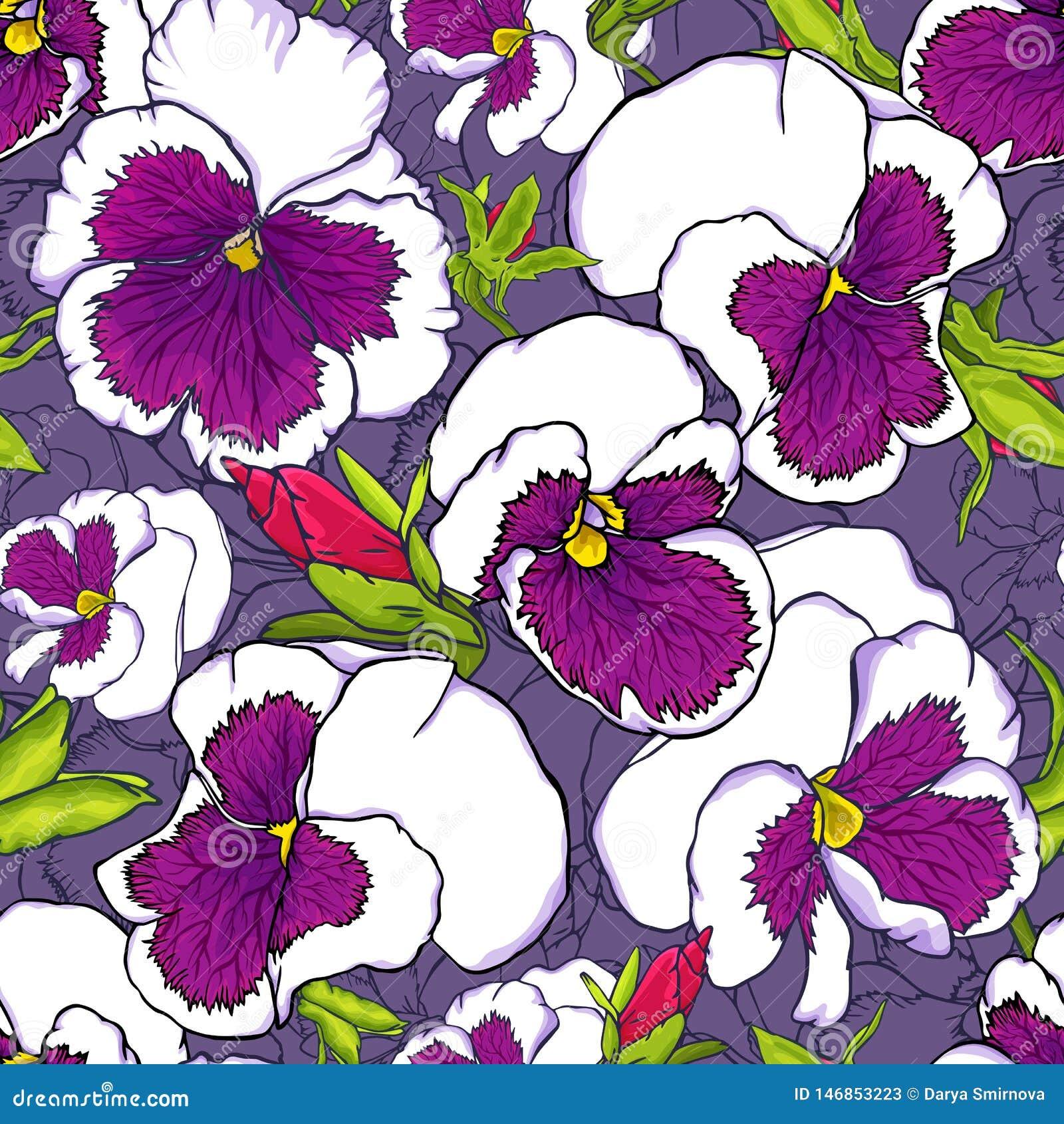 För utdragna nya purpurfärgade sömlös modell altfiolblommor för hand för tyg-, tapet- och textildesign