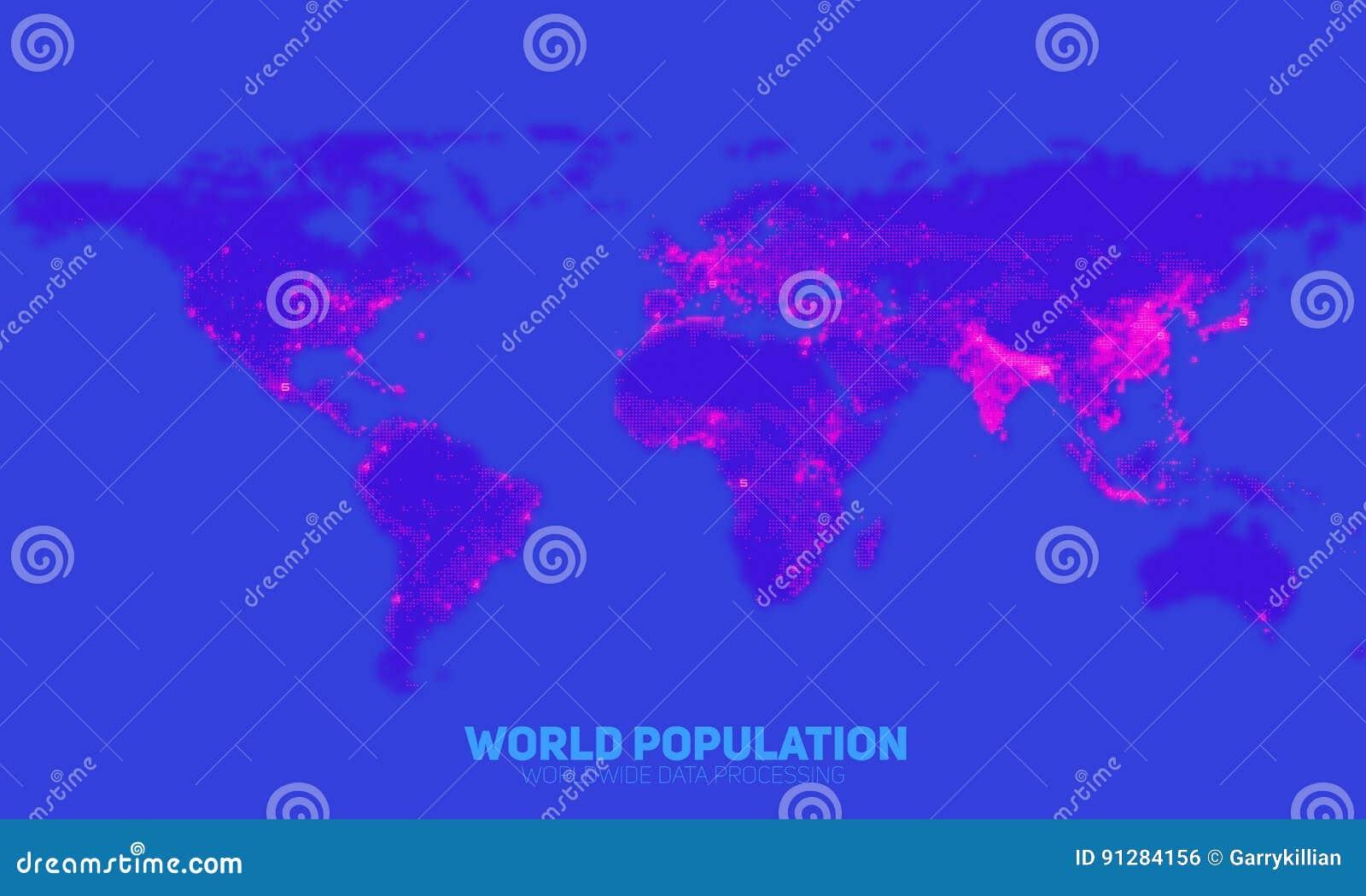 För världsbefolkning för vektor abstrakt översikt för täthet Kontinenter som konstrueras från binära nummer Globalt informationsn