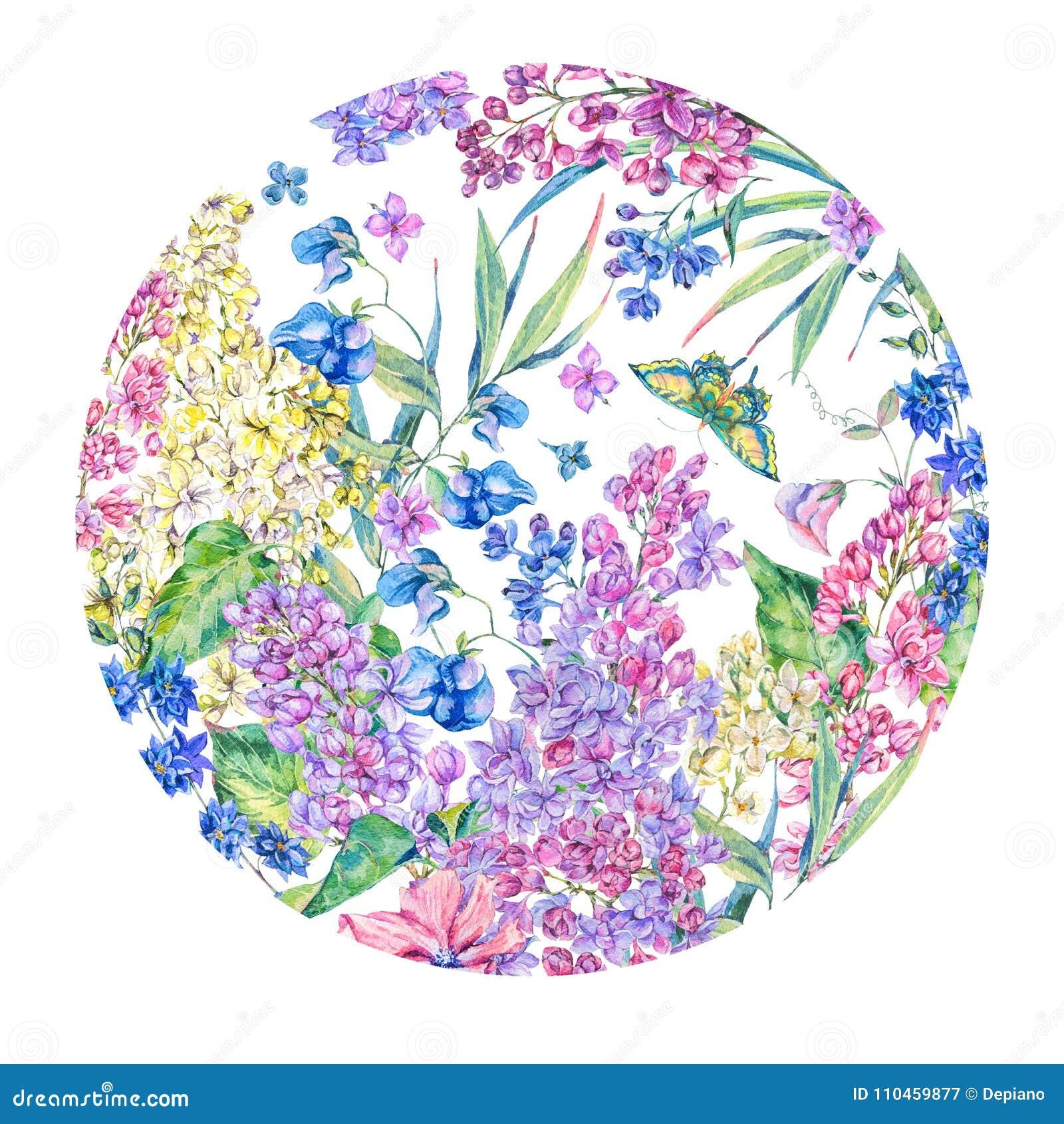 För vårhälsning för vattenfärg blom- kort,