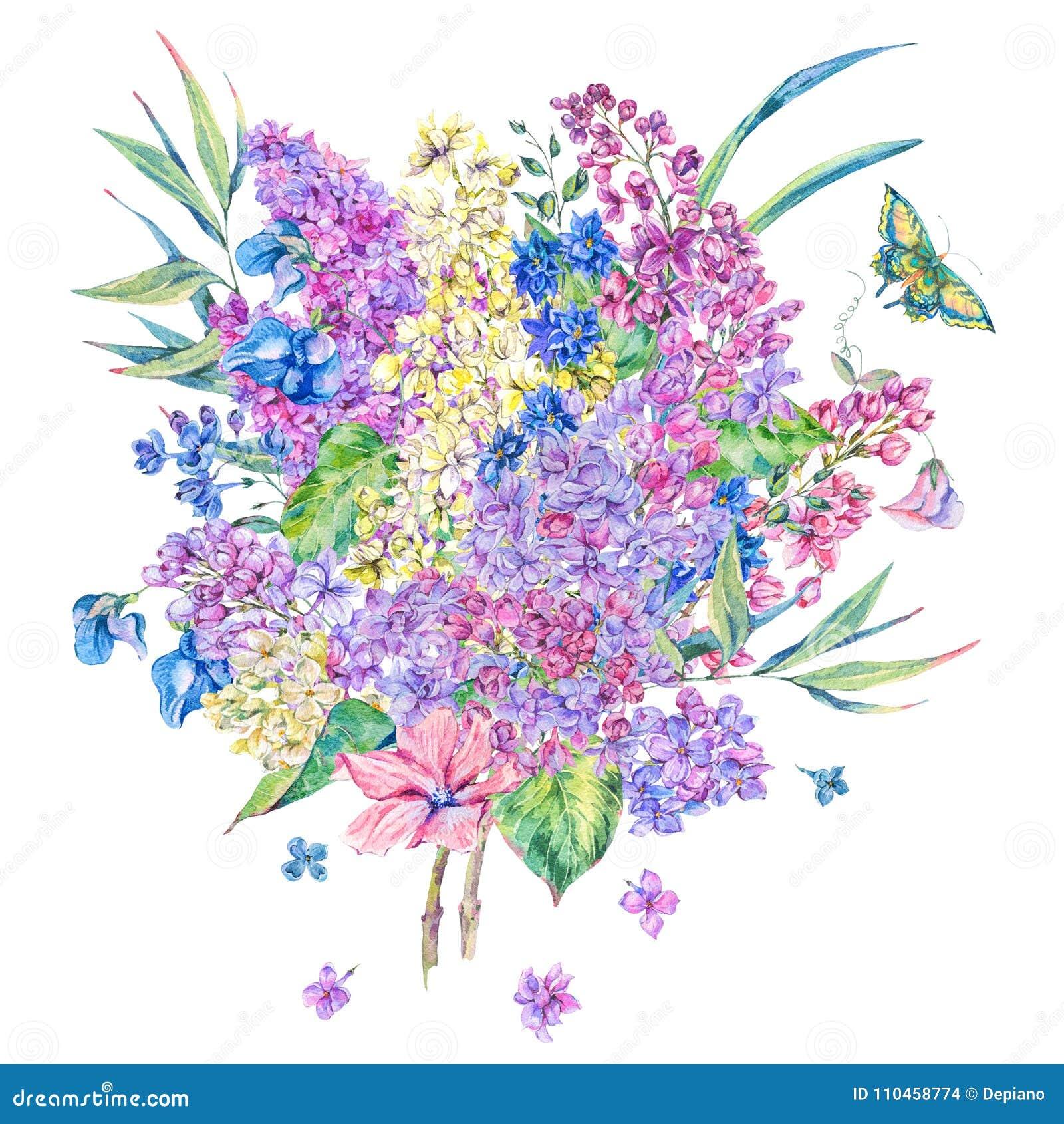 För vårhälsning för vattenfärg blom- kort med lilan