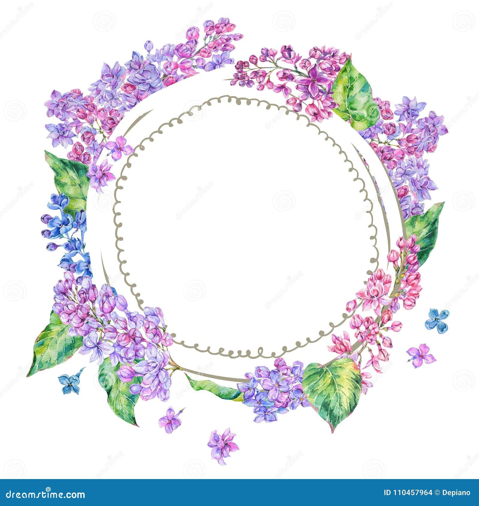 För vårrunda för vattenfärg blom- ram