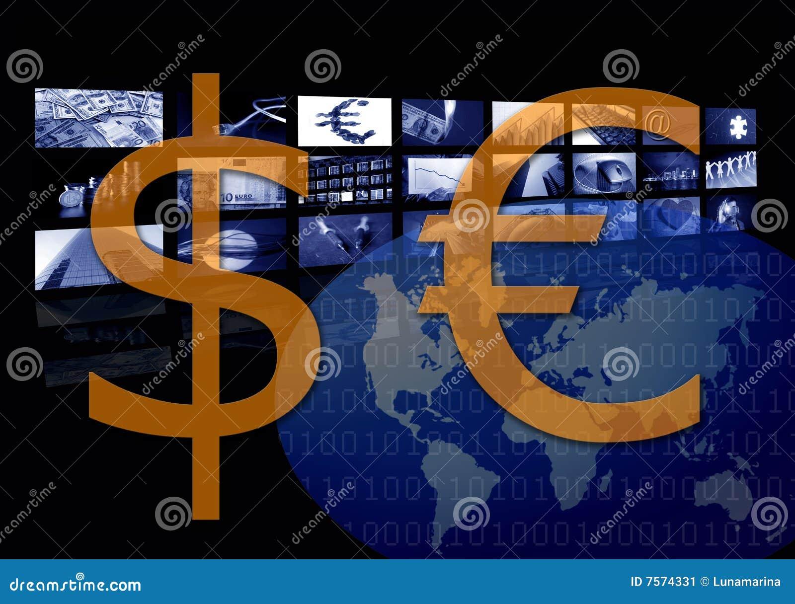 För valutadollar för affär företags euro kontra