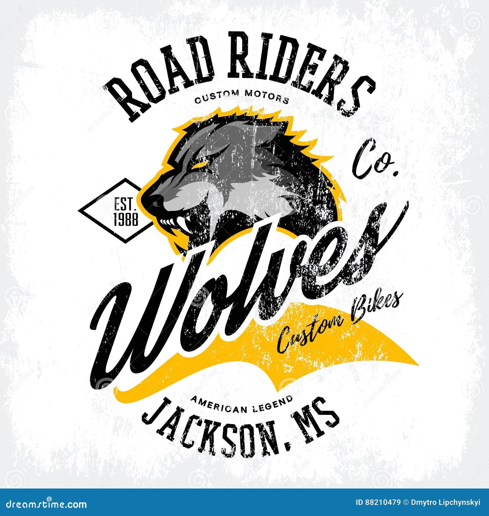 För vargcyklister för tappning som amerikansk rasande design för vektor för tryck för utslagsplats för klubba isoleras på den vit