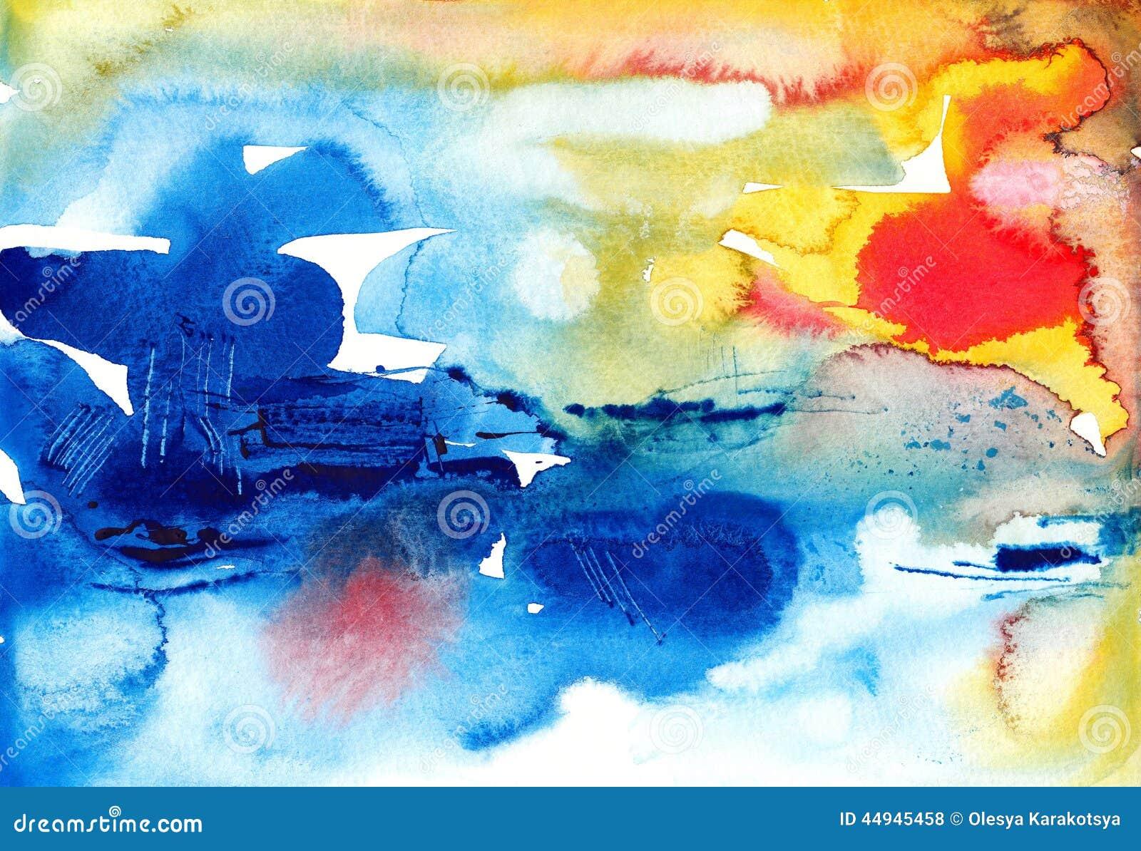För vattenfärgbakgrund för original abstrakt borste