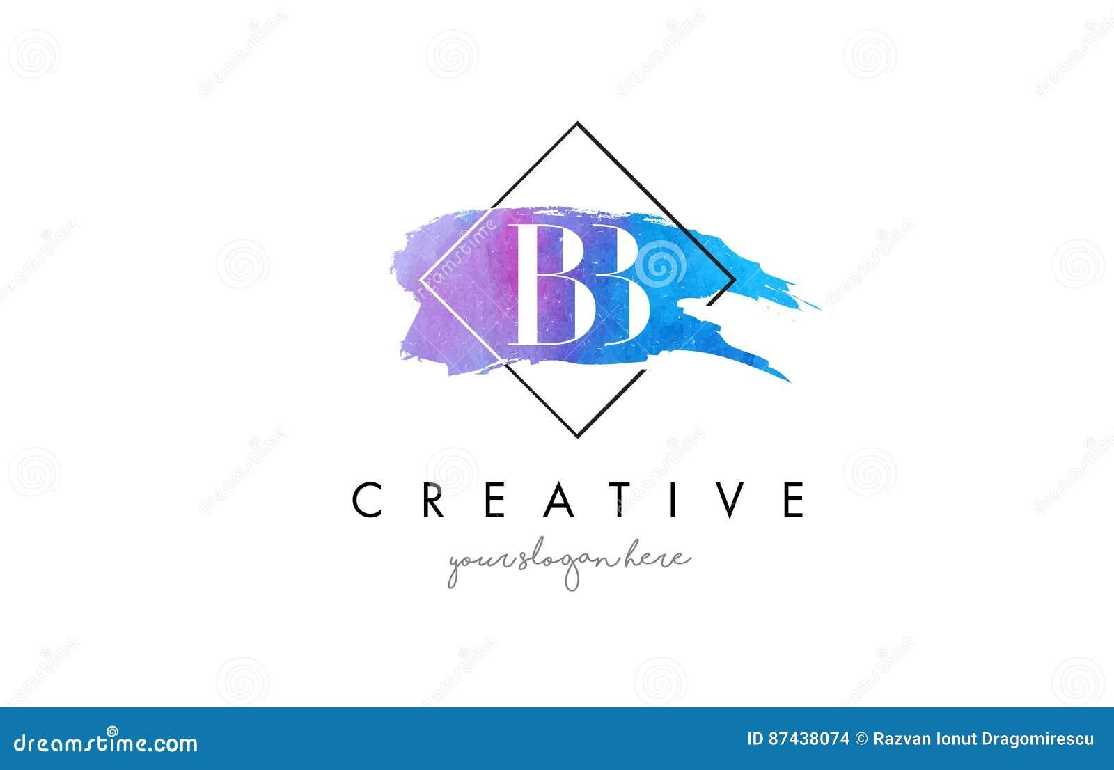 För vattenfärgbokstav för BB konstnärlig logo för borste