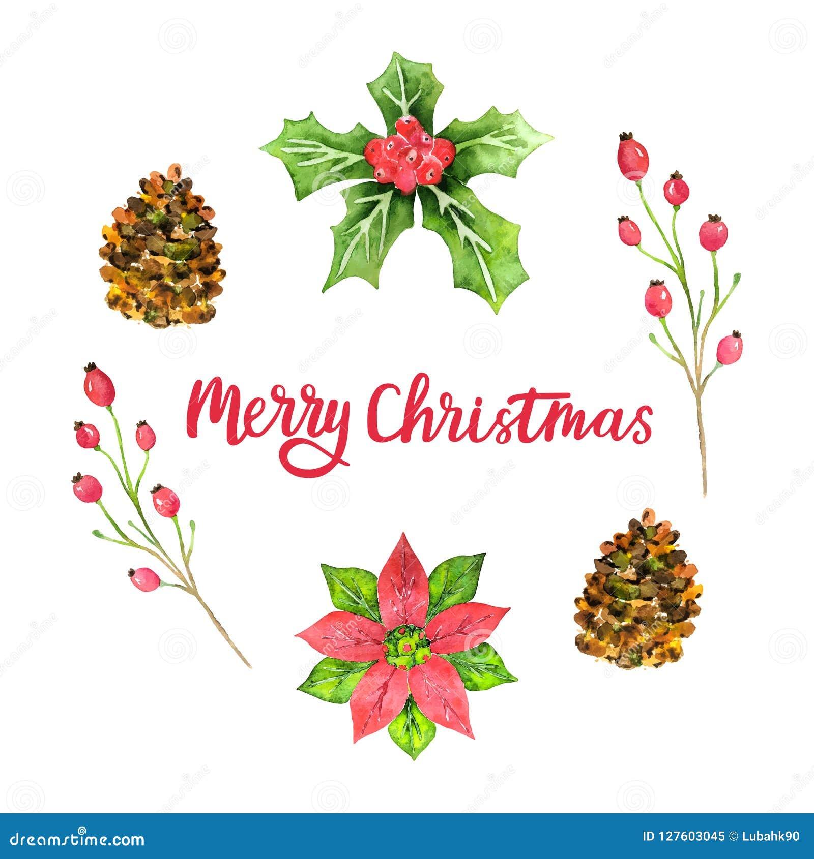 För vattenfärghälsning för glad jul kort Designmall för jul blom- design för ferie också vektor för coreldrawillustration