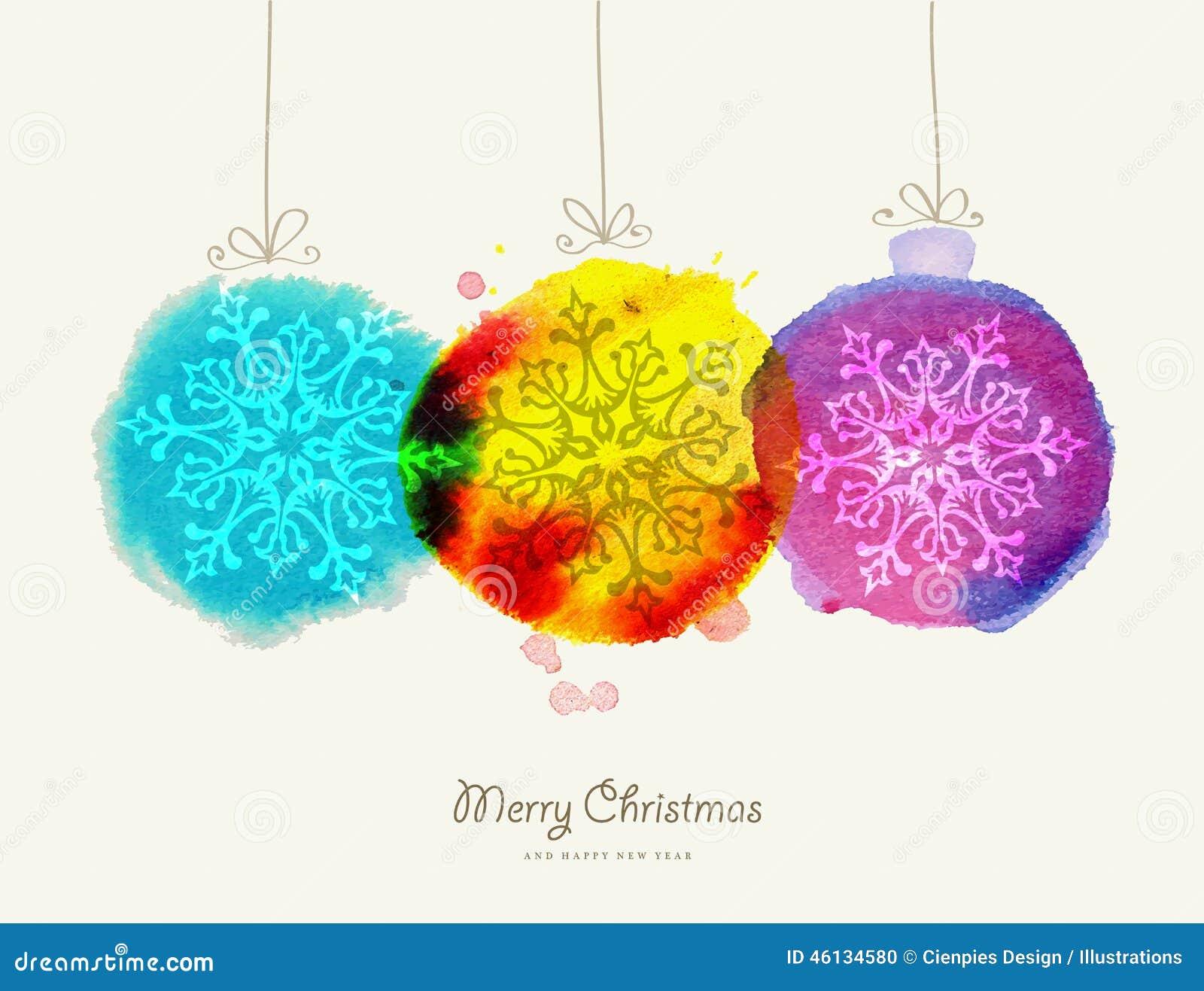 För vattenfärgstruntsaker för glad jul kort