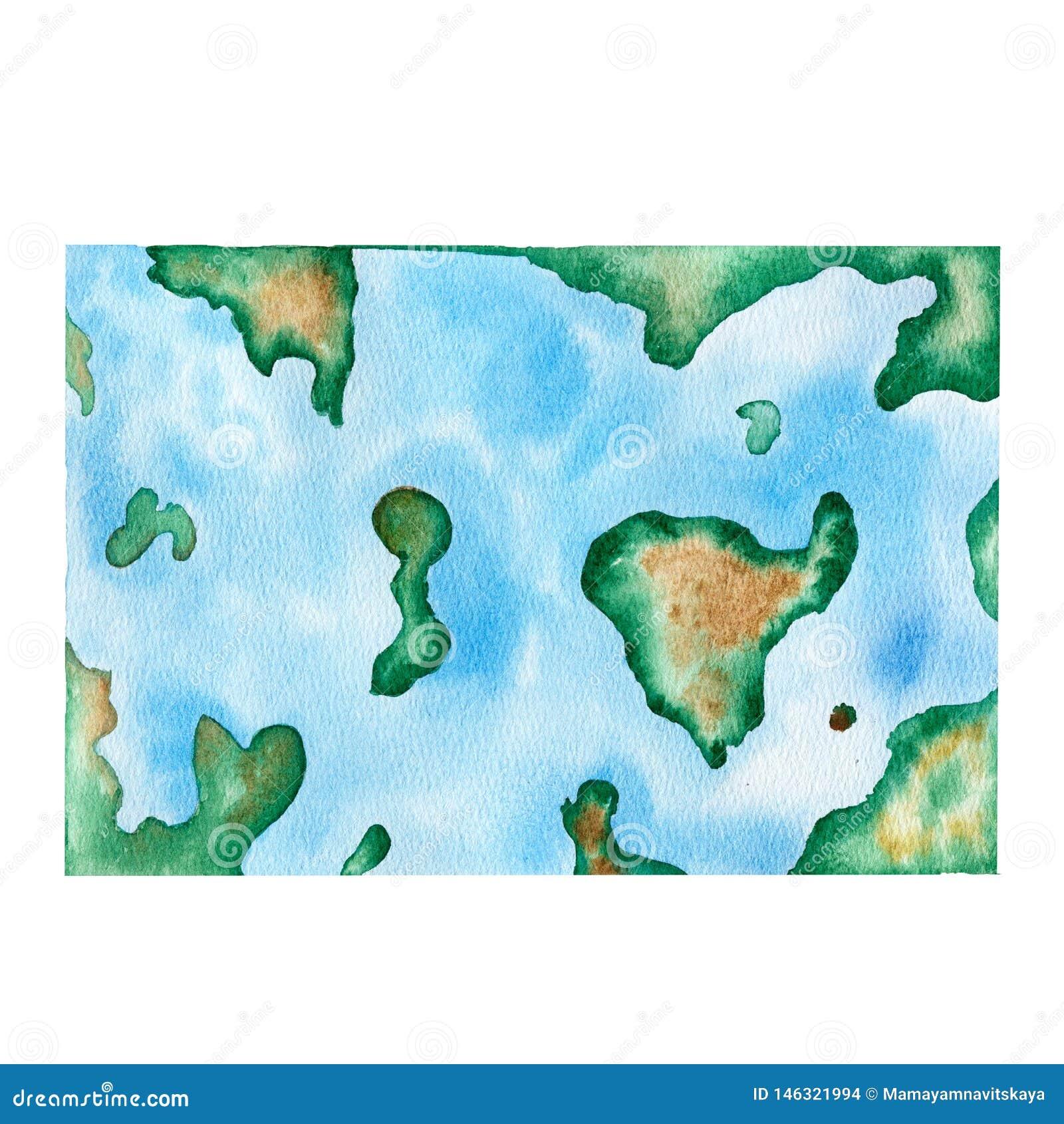 För vattenfärgvärldskarta för hand utdragen illustration
