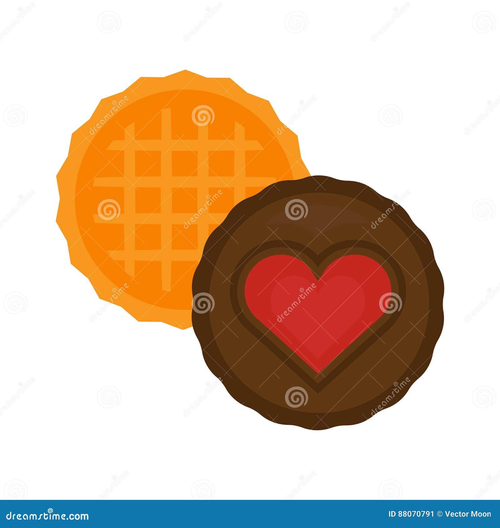 För vektorillustration för hjärta fabulerar kakan isolerade par för förälskelse kexet isolerade läcker frukostchoklad för den söt