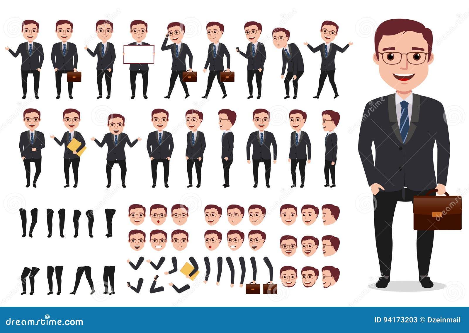 För vektortecken för affärsman eller för kontor manlig sats för skapelse Uppsättning av klart att använda tecken