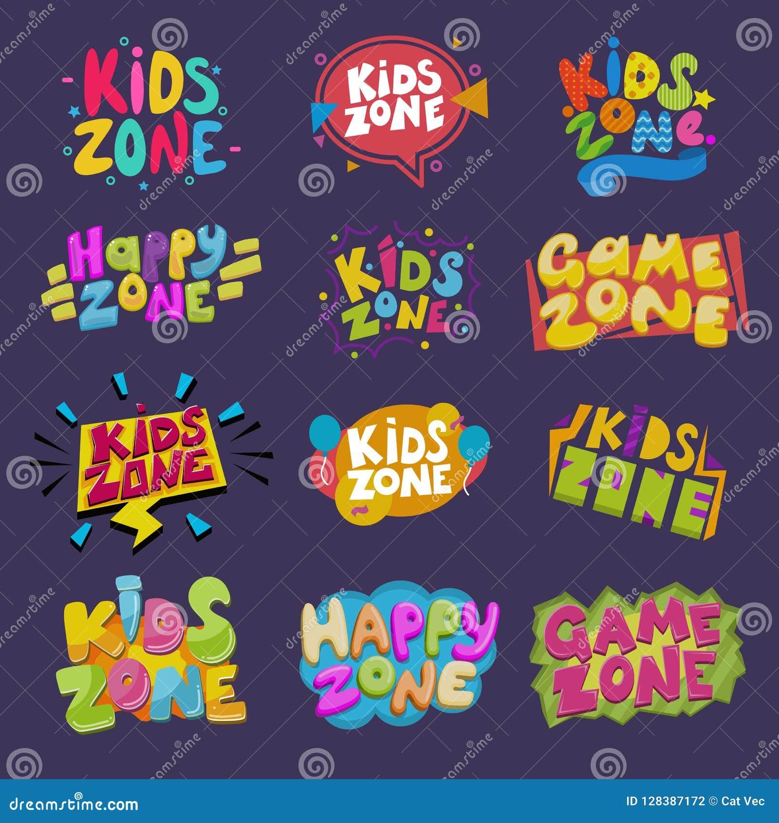 För vektorungar för modigt rum baner för lekrum i tecknad filmstil för för lekzon för barn lycklig uppsättning för illustration f