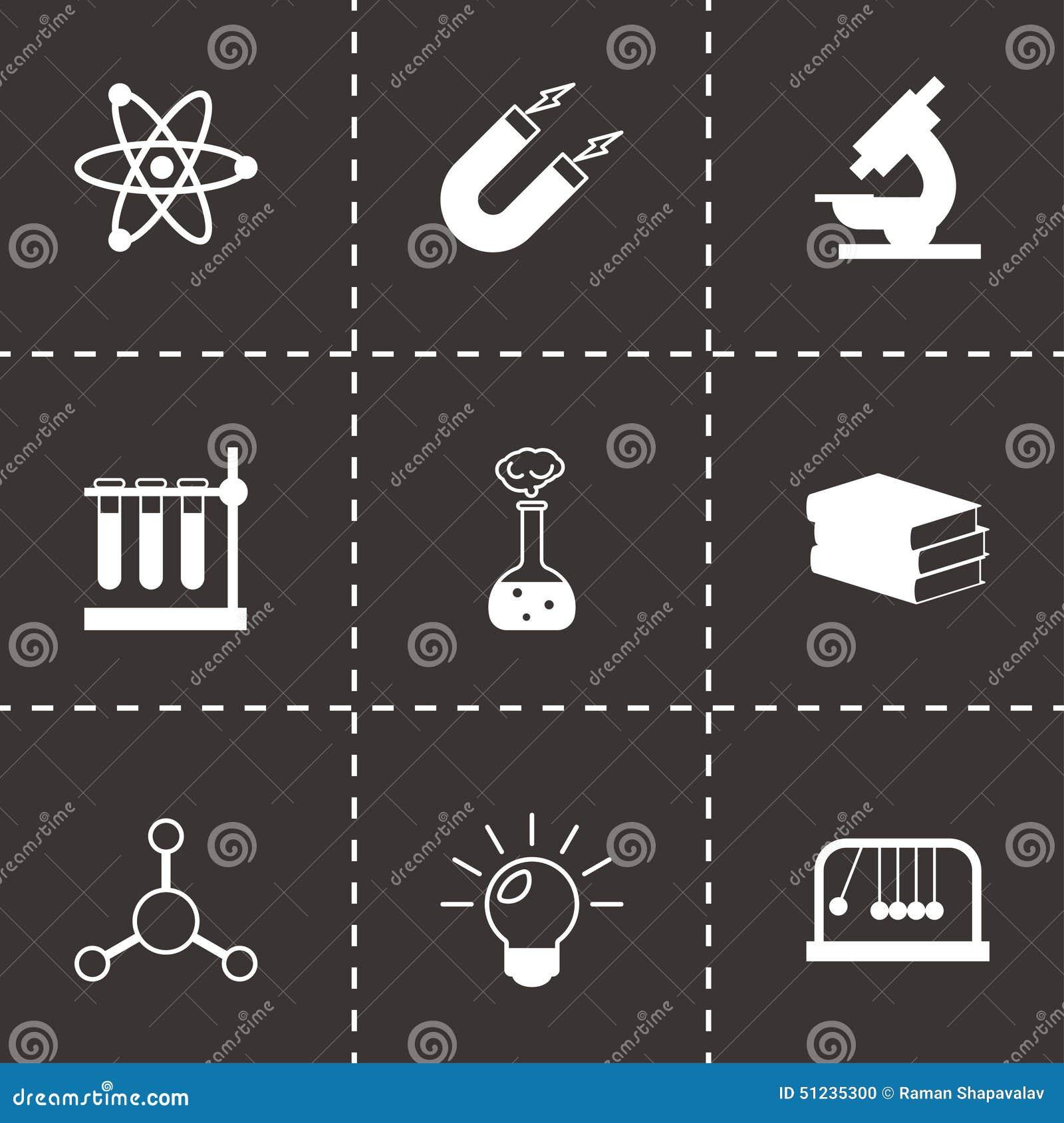 För vetenskapssymboler för vektor svart uppsättning