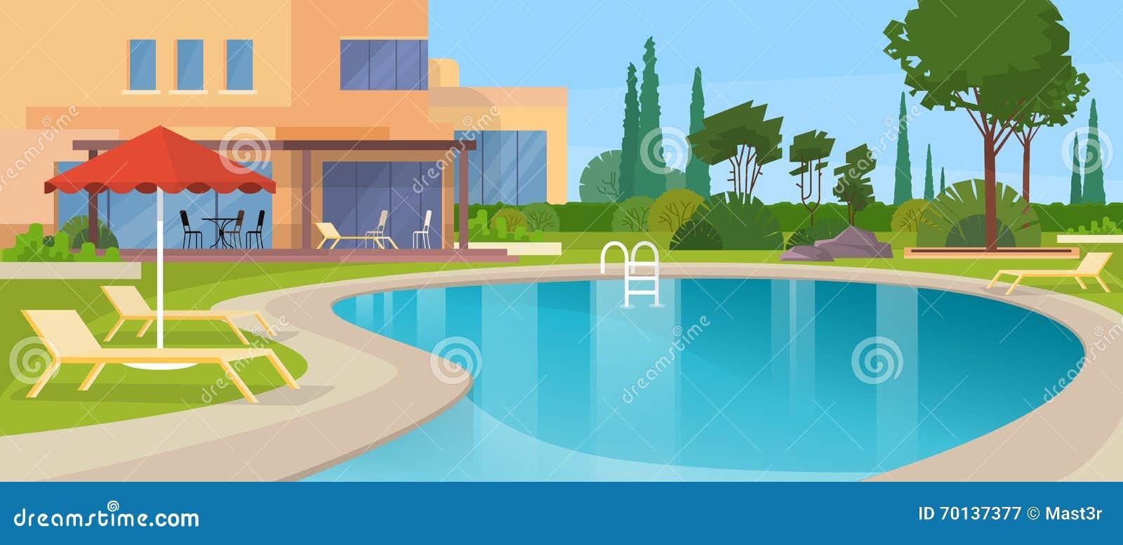 För villahotell för simbassäng stor modern yttersida för hus