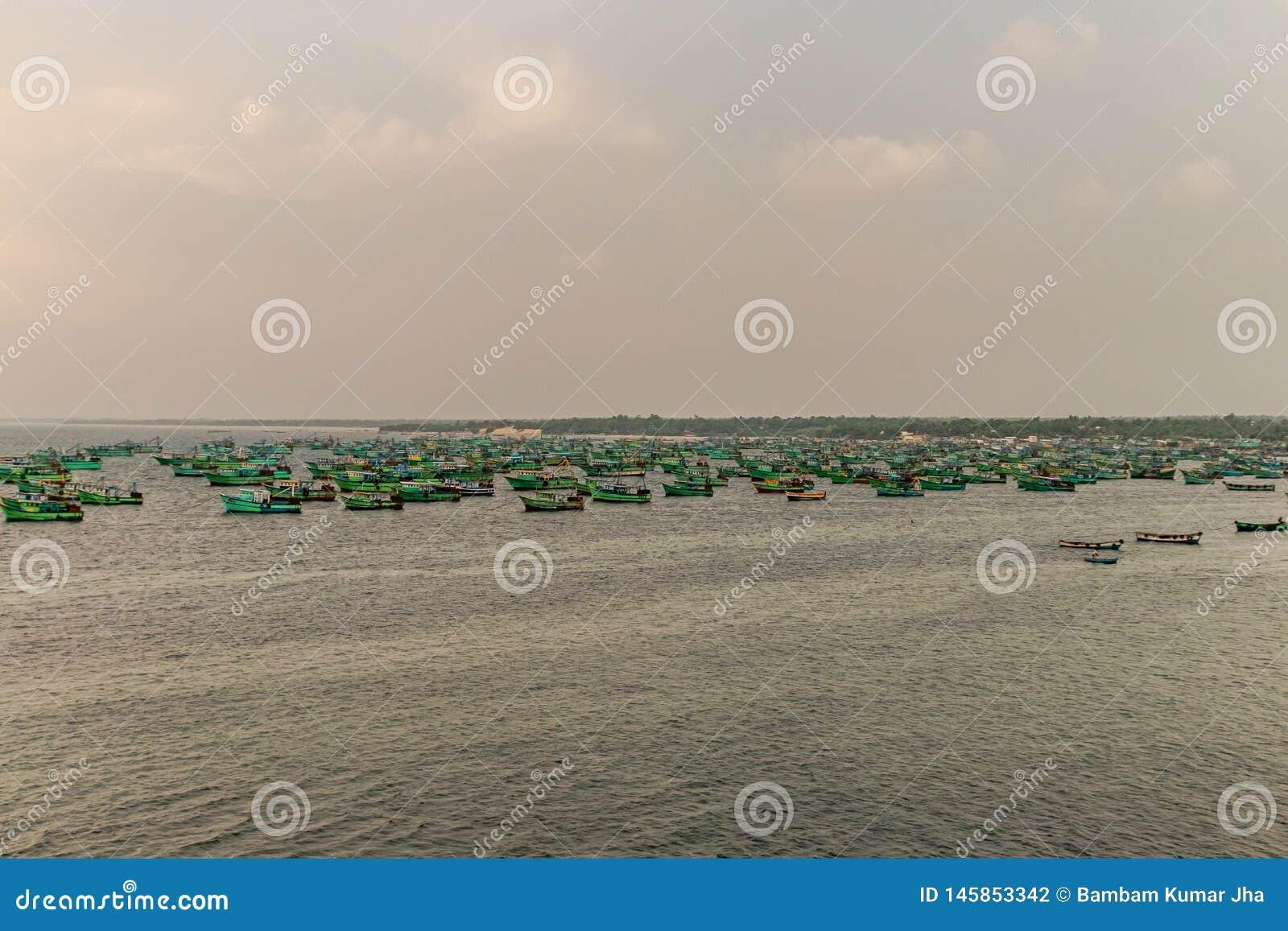Förankrade fiskebåtar i havet