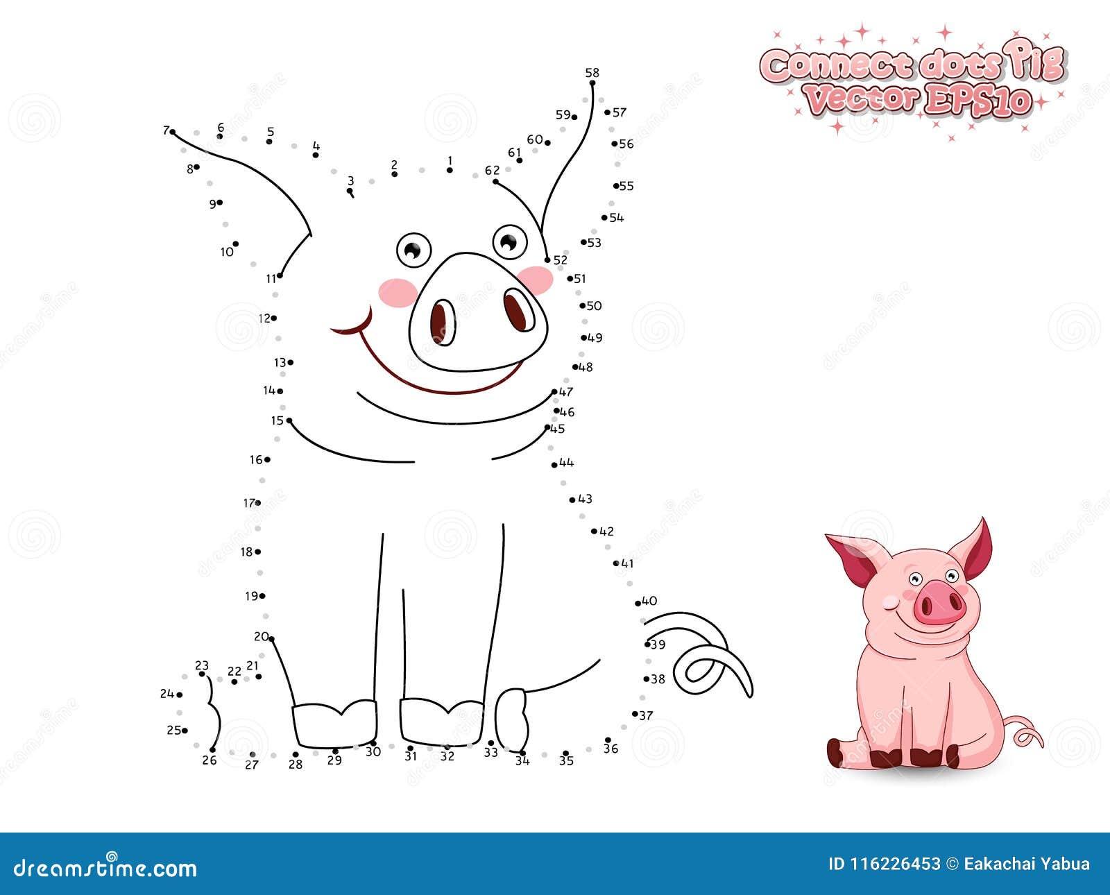 Förbind Dots Draw Cute Cartoon Pig och färga Bildande gummin