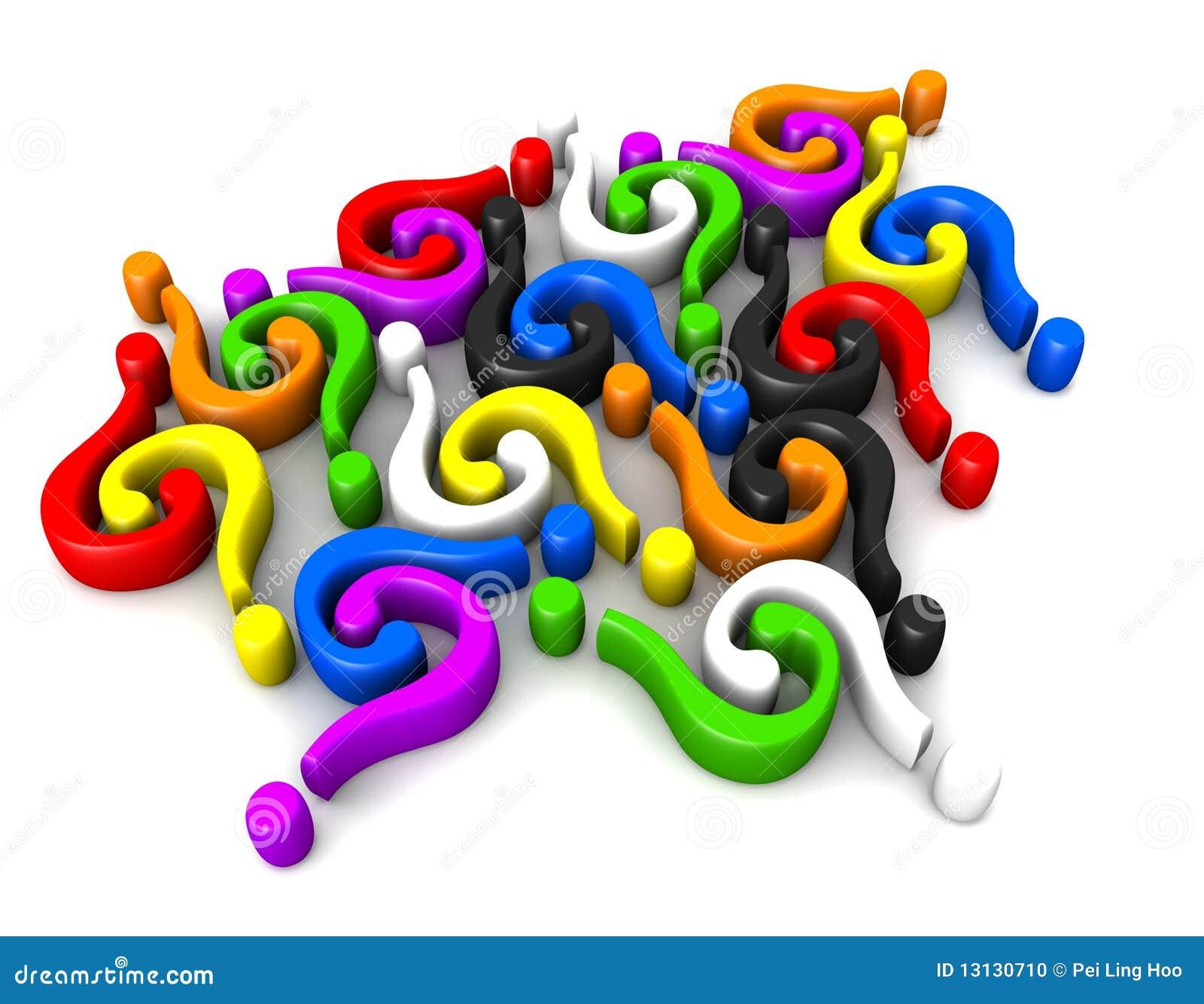 Förbindande multicolor fråga för fläckar