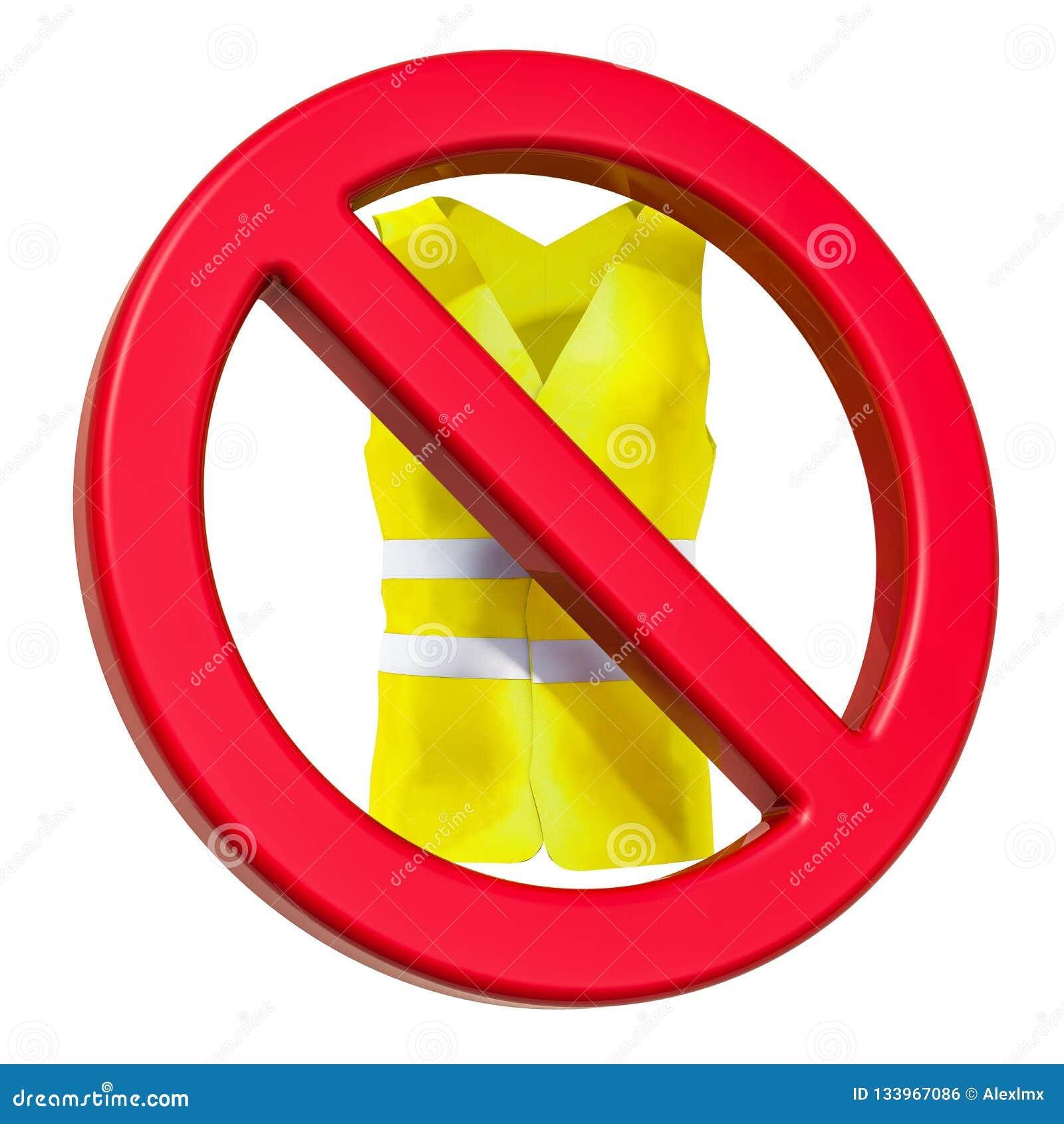 Förbjudit tecken med den gula västen, tolkning 3D