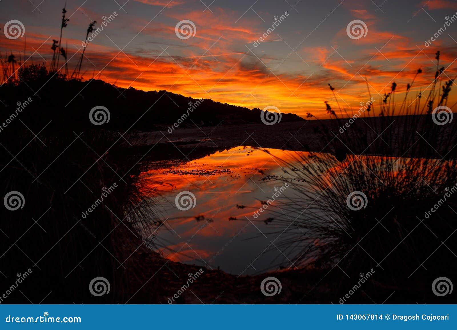 Förbluffa flamma solnedgånglandskap över ön och himlen ovanför den med en enorm sol Solnedgångsikt på stranden