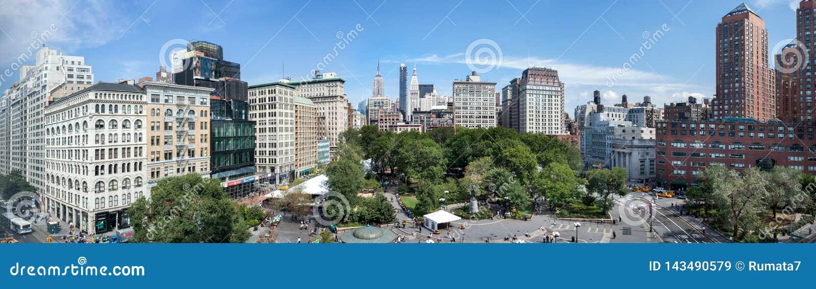Förbluffa panorama- flyg- sikt av Union Square på New York City USA