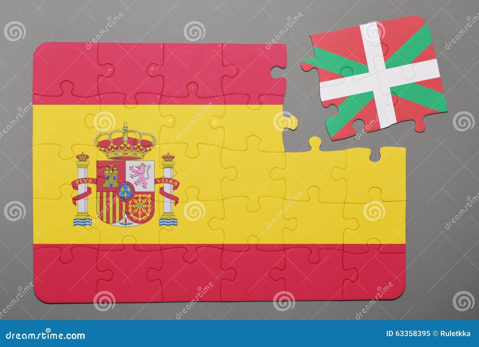 Förbrylla med nationsflaggan av det fristående Spanien och baskiska landsstycket