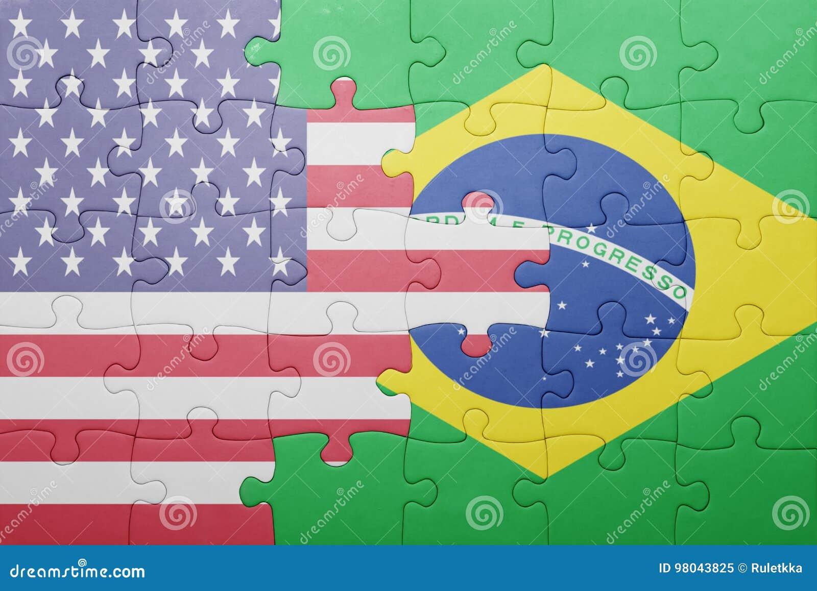 Förbrylla med nationsflaggan av USA och Brasilien