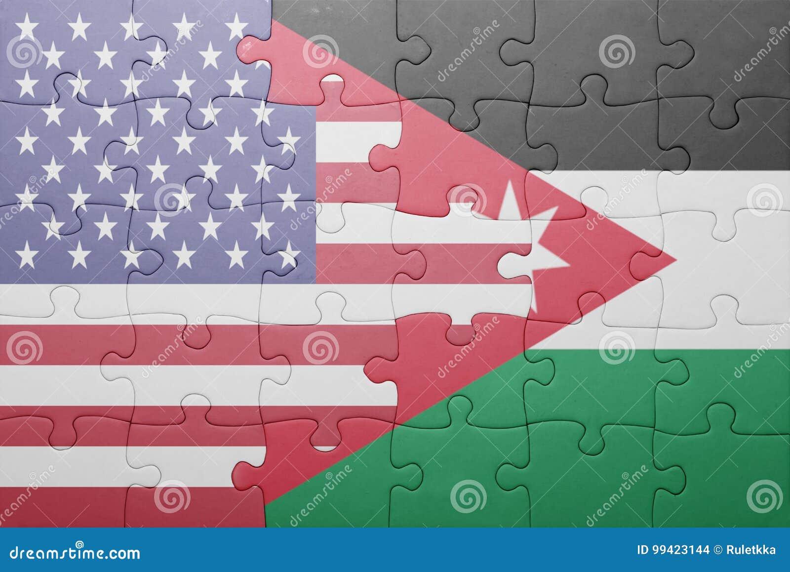 Förbrylla med nationsflaggan av USA och Jordanien