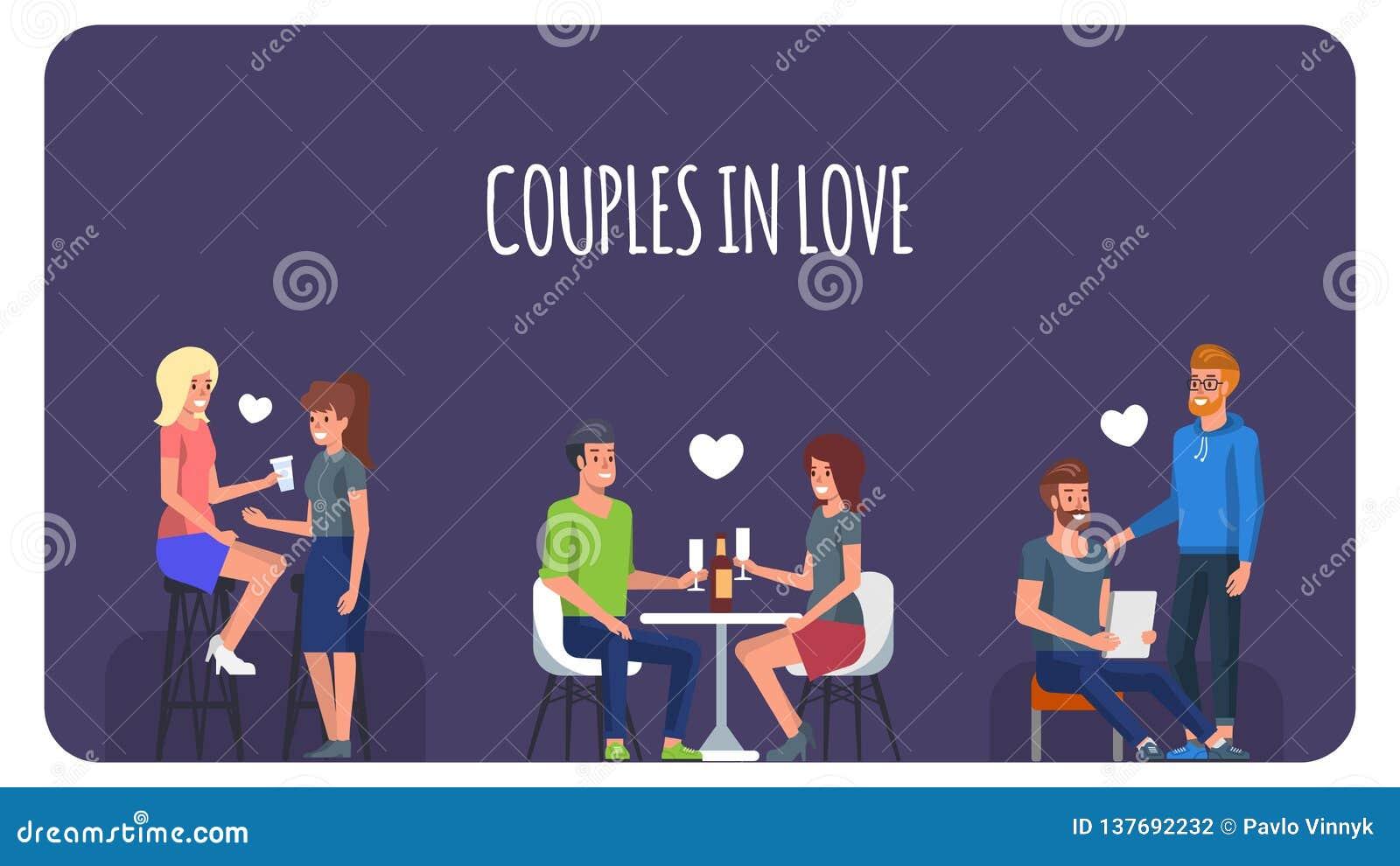 Förbunde förälskat Folk i romantiskt datum vektor