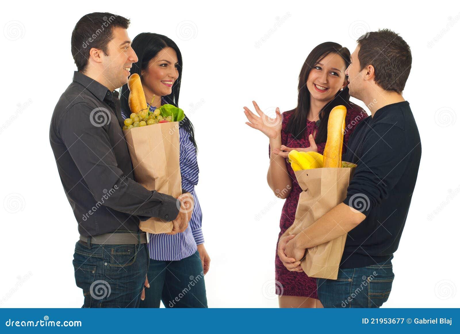 Förbunde matmötet som shoppar två